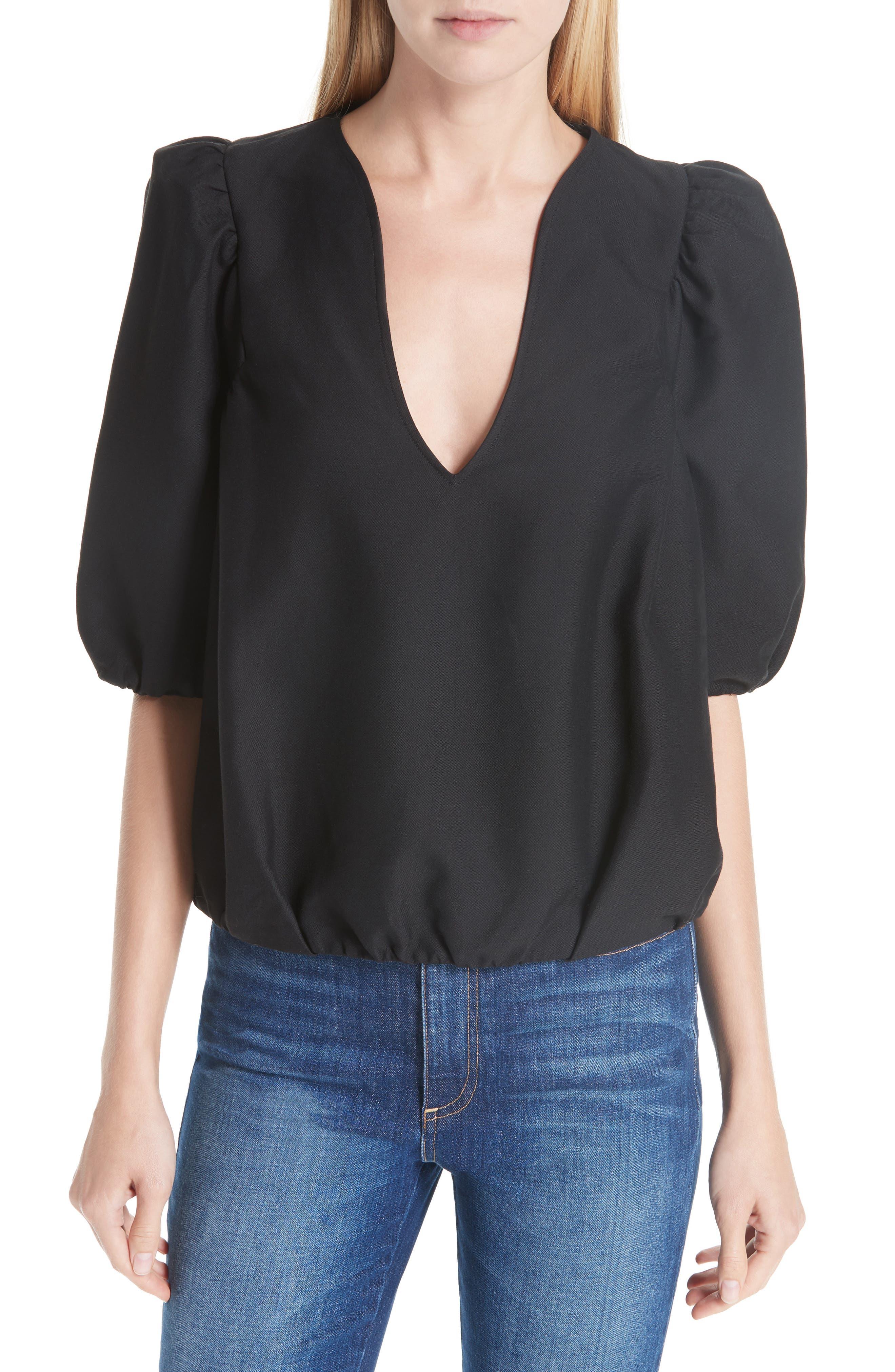 Petra Cotton Blend Puff Sleeve Blouse,                         Main,                         color, BLACK