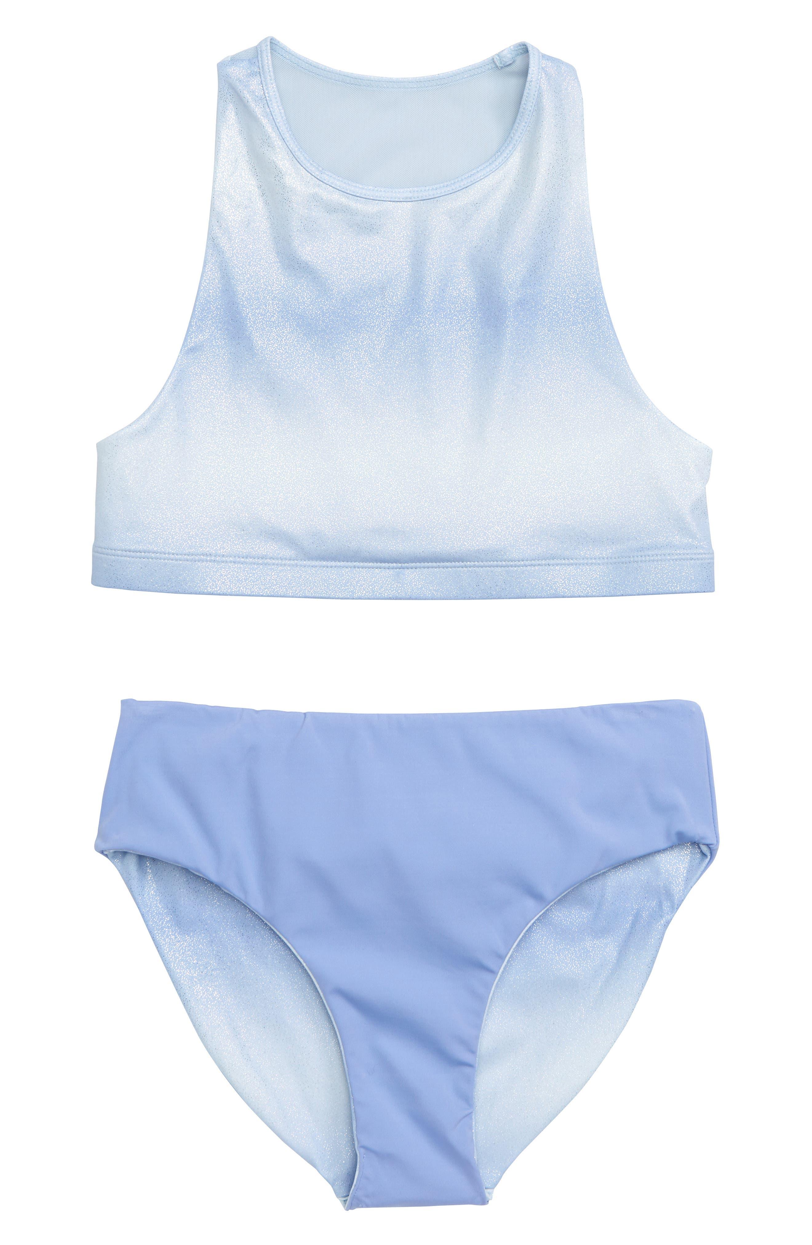 Two-Piece Racerback Swimsuit,                             Alternate thumbnail 2, color,                             BLUE HAZE OMBRE
