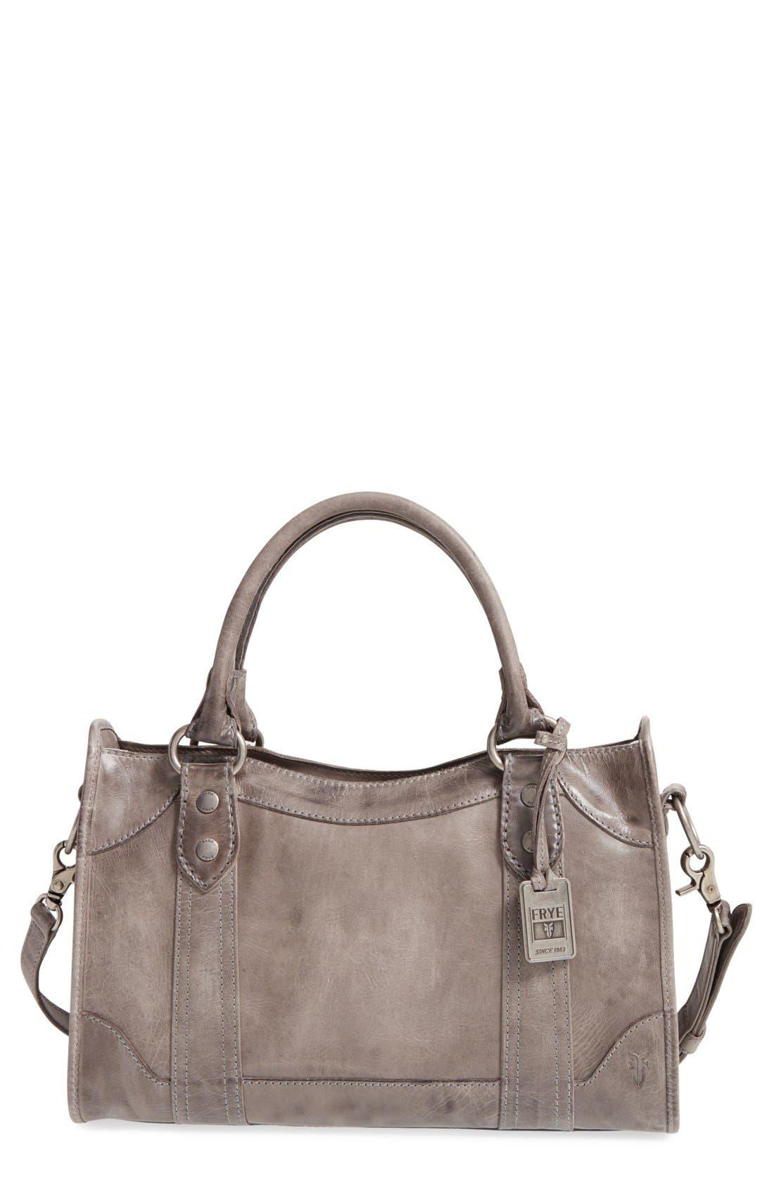 FRYE 'Melissa' Washed Leather Satchel, Main, color, ICE