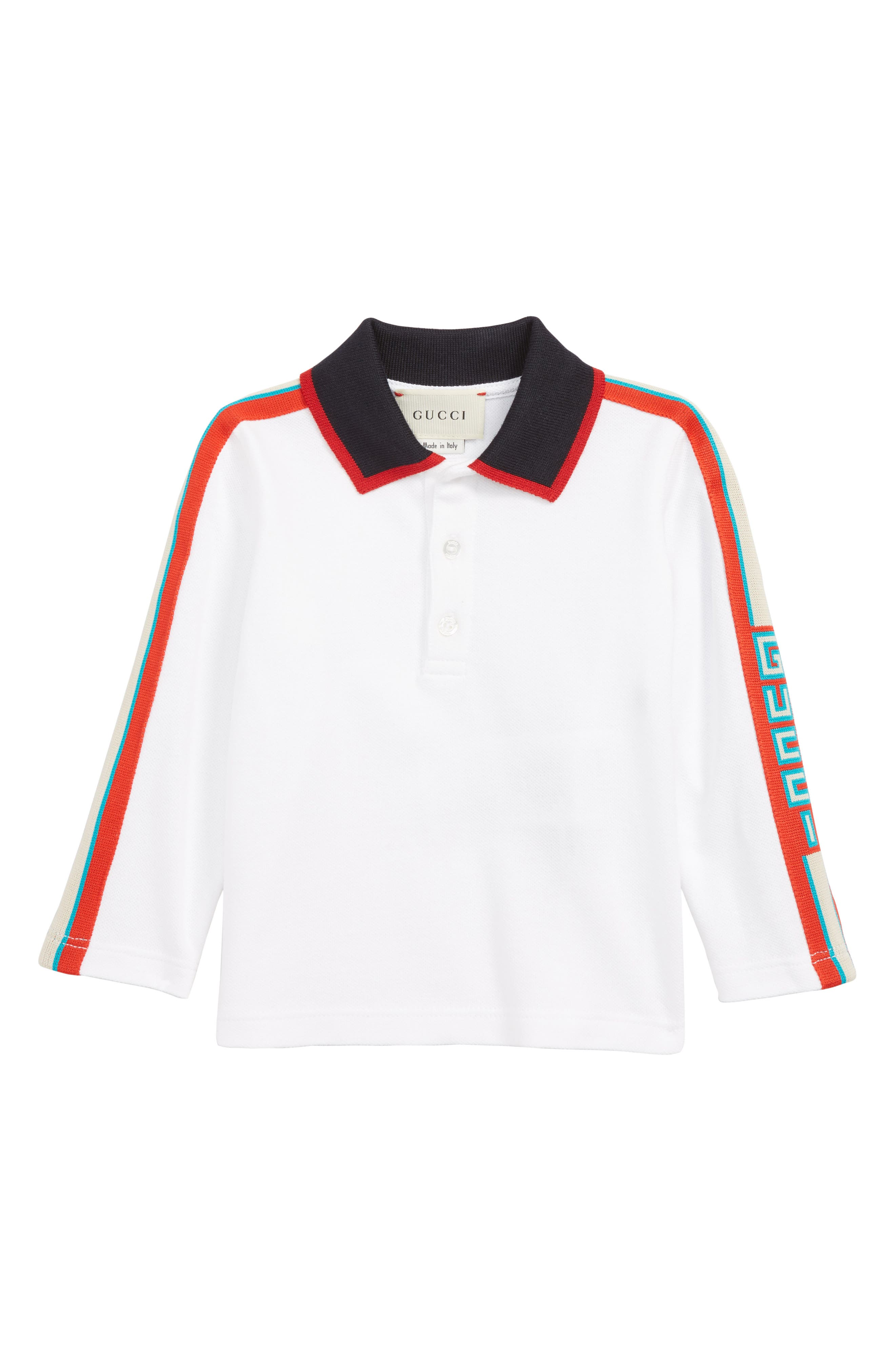 Long Sleeve Stripe Cotton Piqué Polo Shirt,                         Main,                         color, OPT.WHITE/ MULTICOLOR