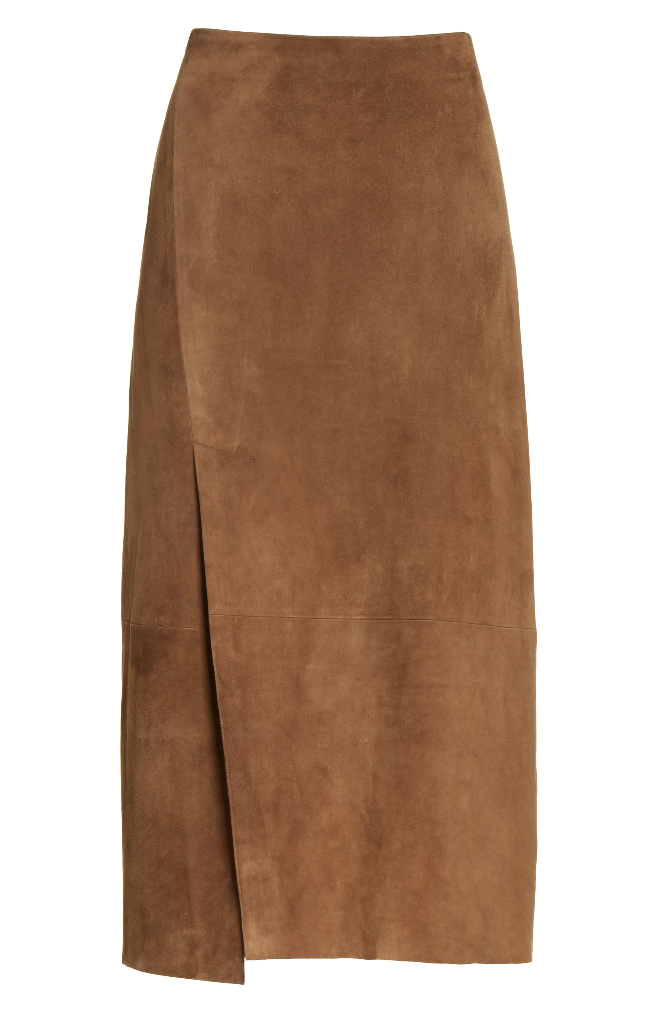 Suede Slit Skirt,                             Alternate thumbnail 6, color,                             242