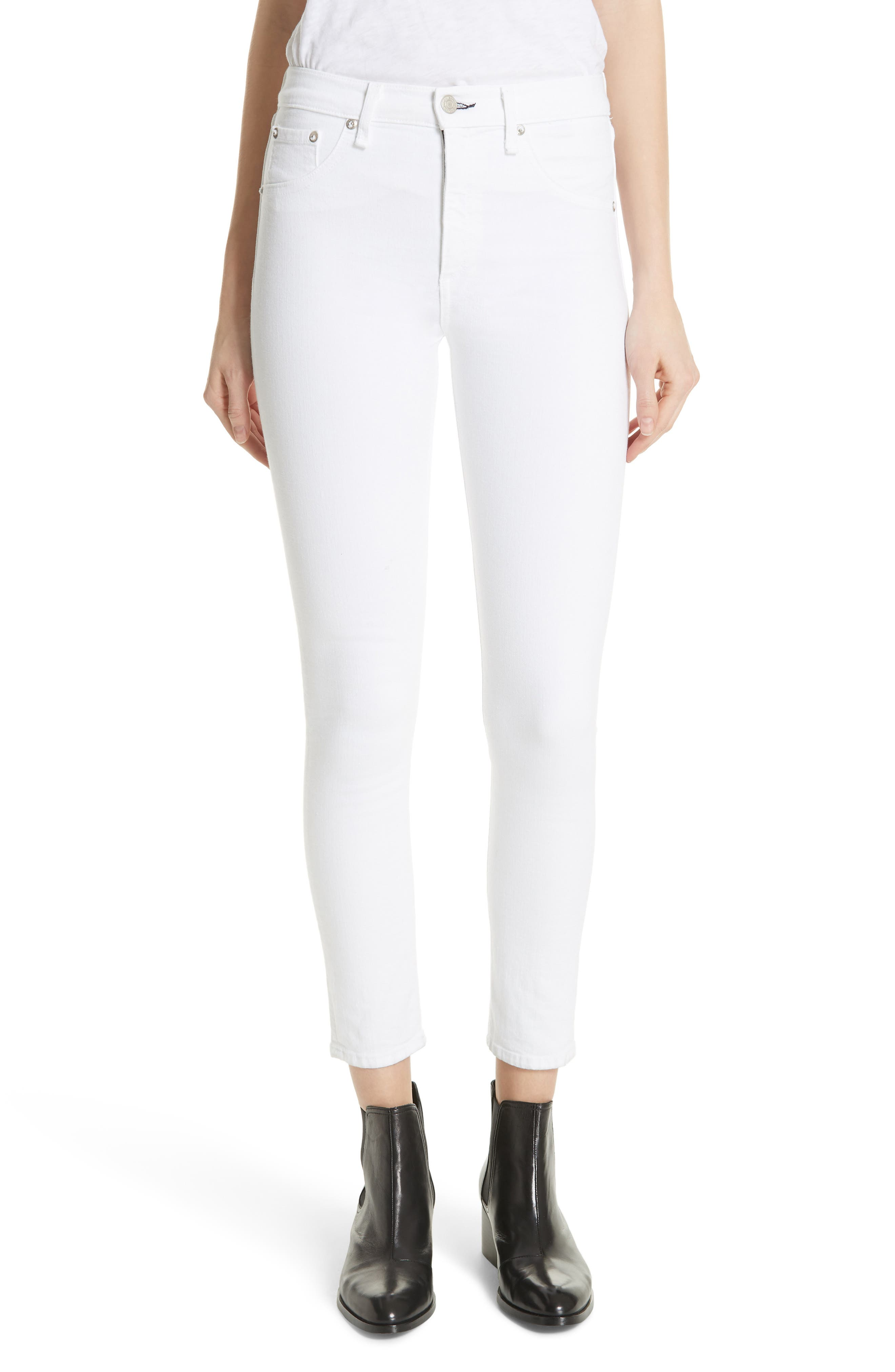 High Waist Ankle Skinny Jeans,                             Main thumbnail 1, color,                             BLANC