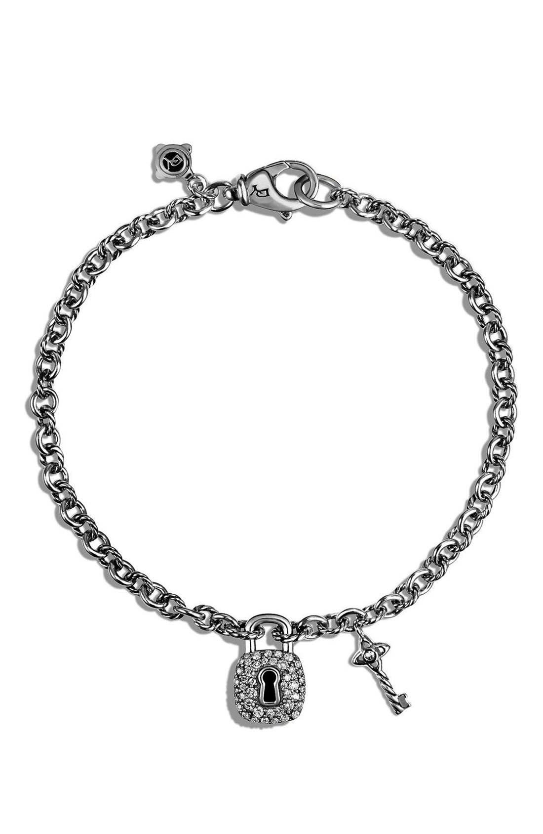 'Cable Collectibles' Lock and Key Charm Bracelet with Diamonds,                             Alternate thumbnail 3, color,                             SILVER