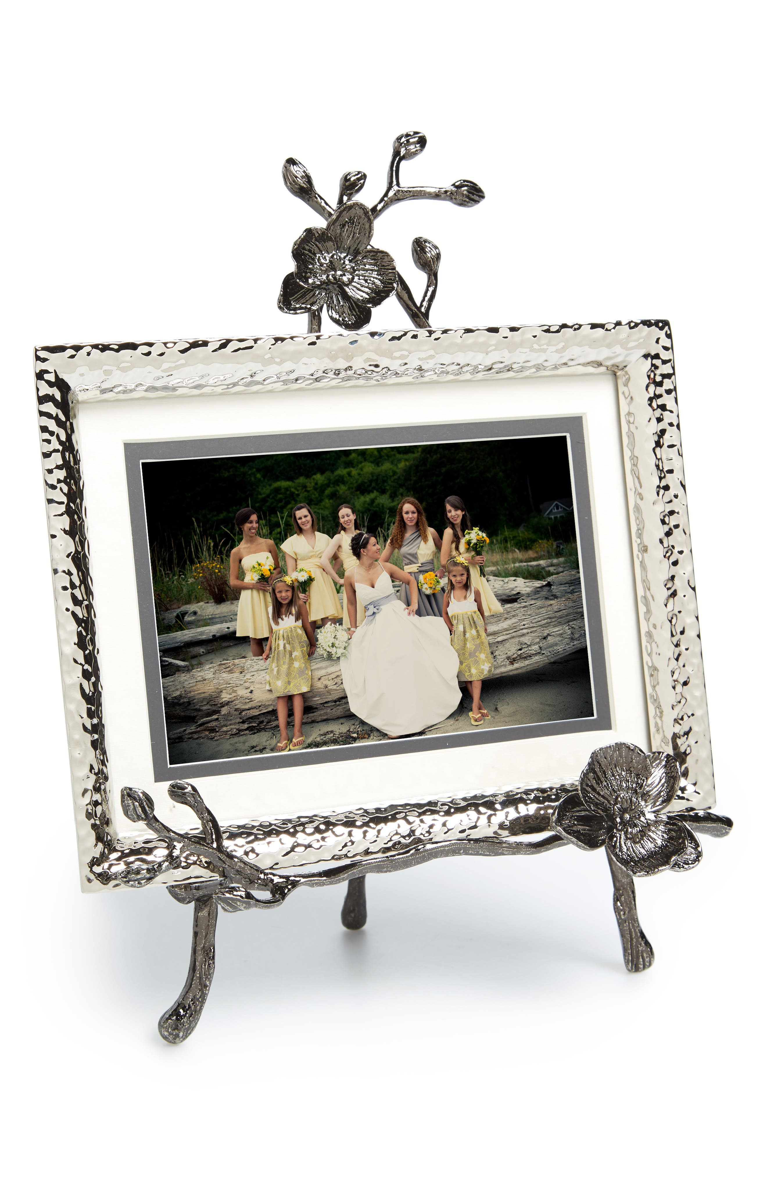Black Orchid Convertible Easel Picture Frame,                             Main thumbnail 1, color,                             NICKEL