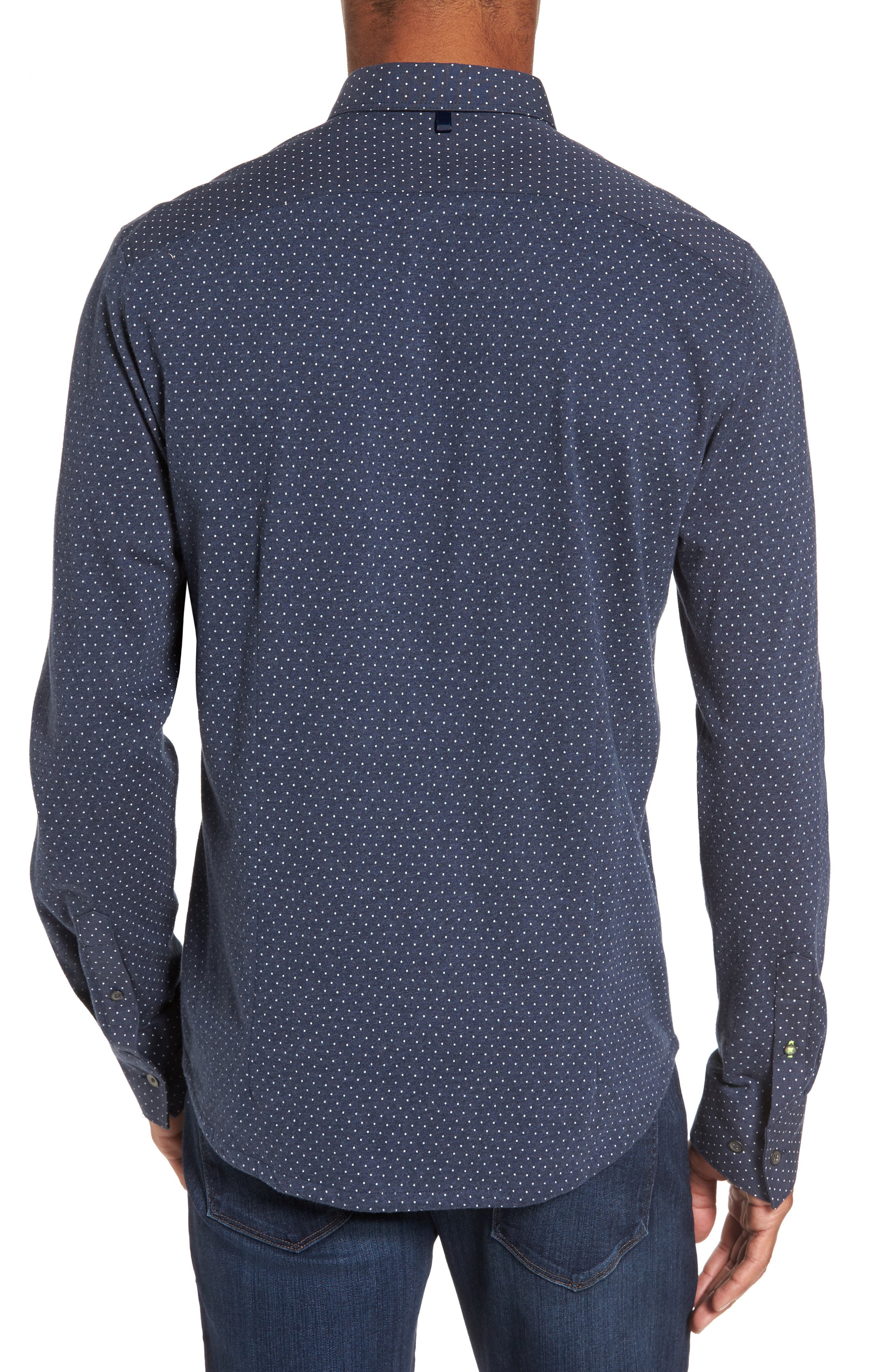 'Reworkd' Trim Fit Dot Print Mixed Media Sport Shirt,                             Alternate thumbnail 6, color,