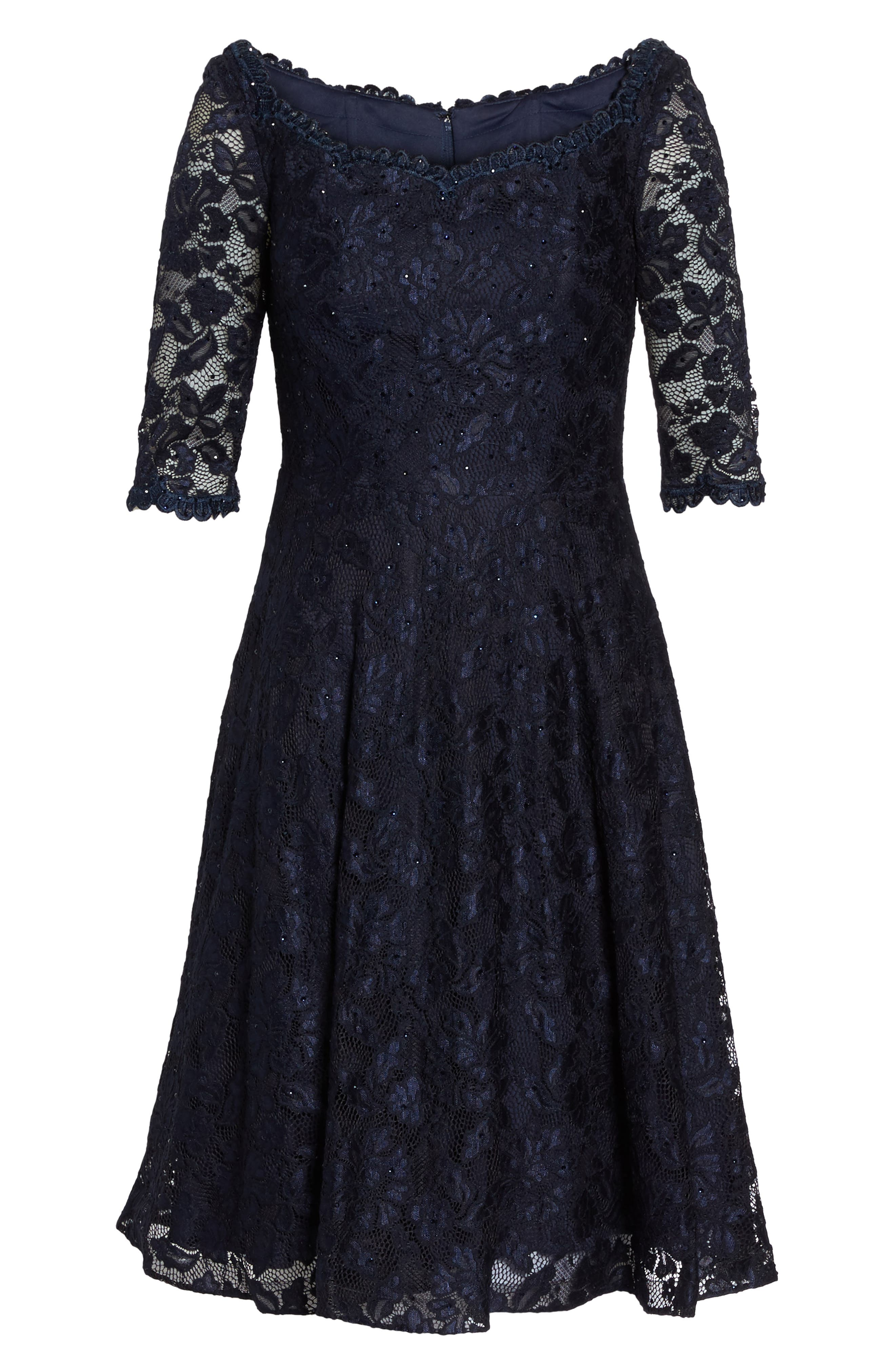 Fit & Flare Lace Dress,                             Alternate thumbnail 6, color,                             NAVY