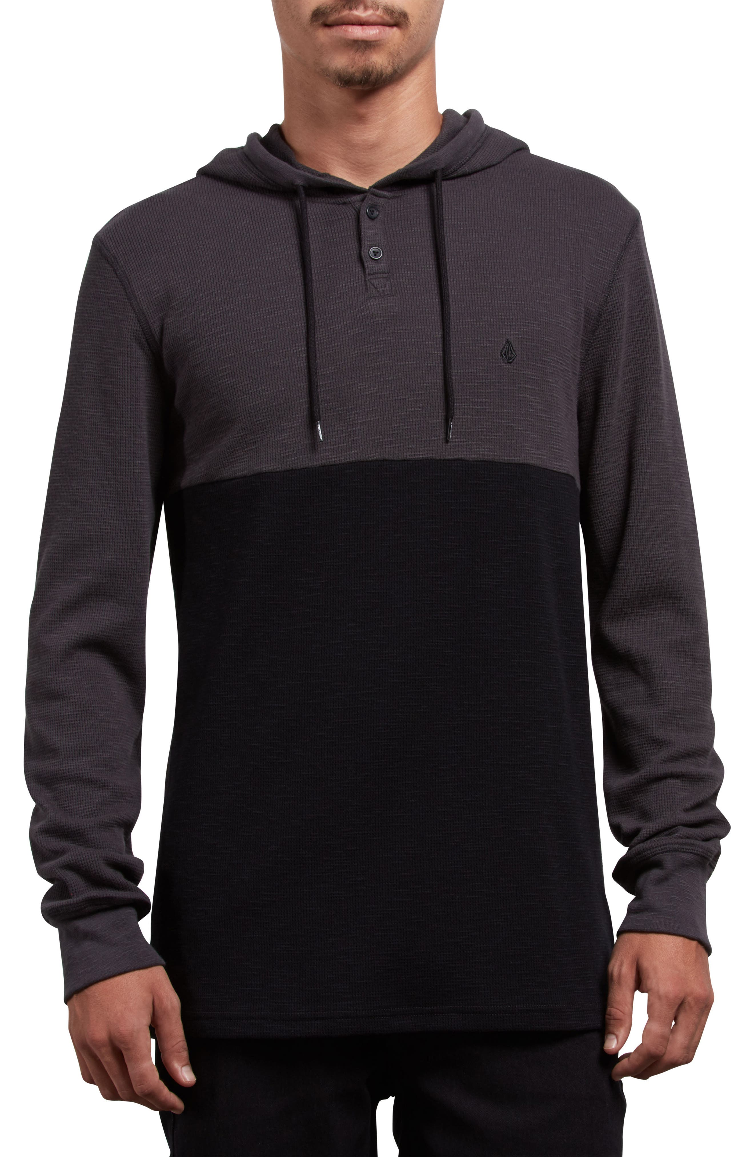 Murphy Thermal Henley Hoodie,                         Main,                         color, ASPHALT BLACK
