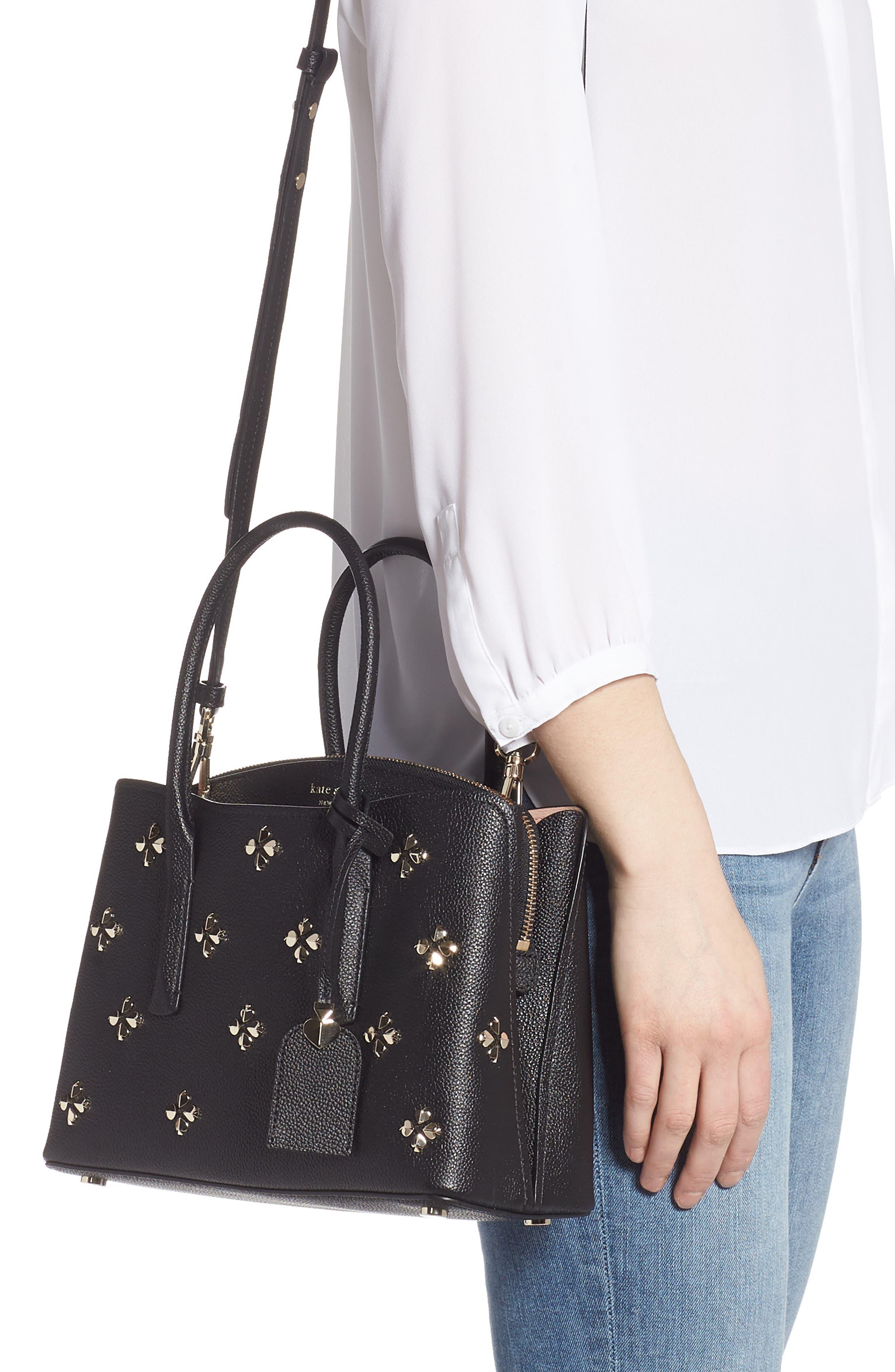 medium margaux embellished leather satchel,                             Alternate thumbnail 2, color,                             BLACK