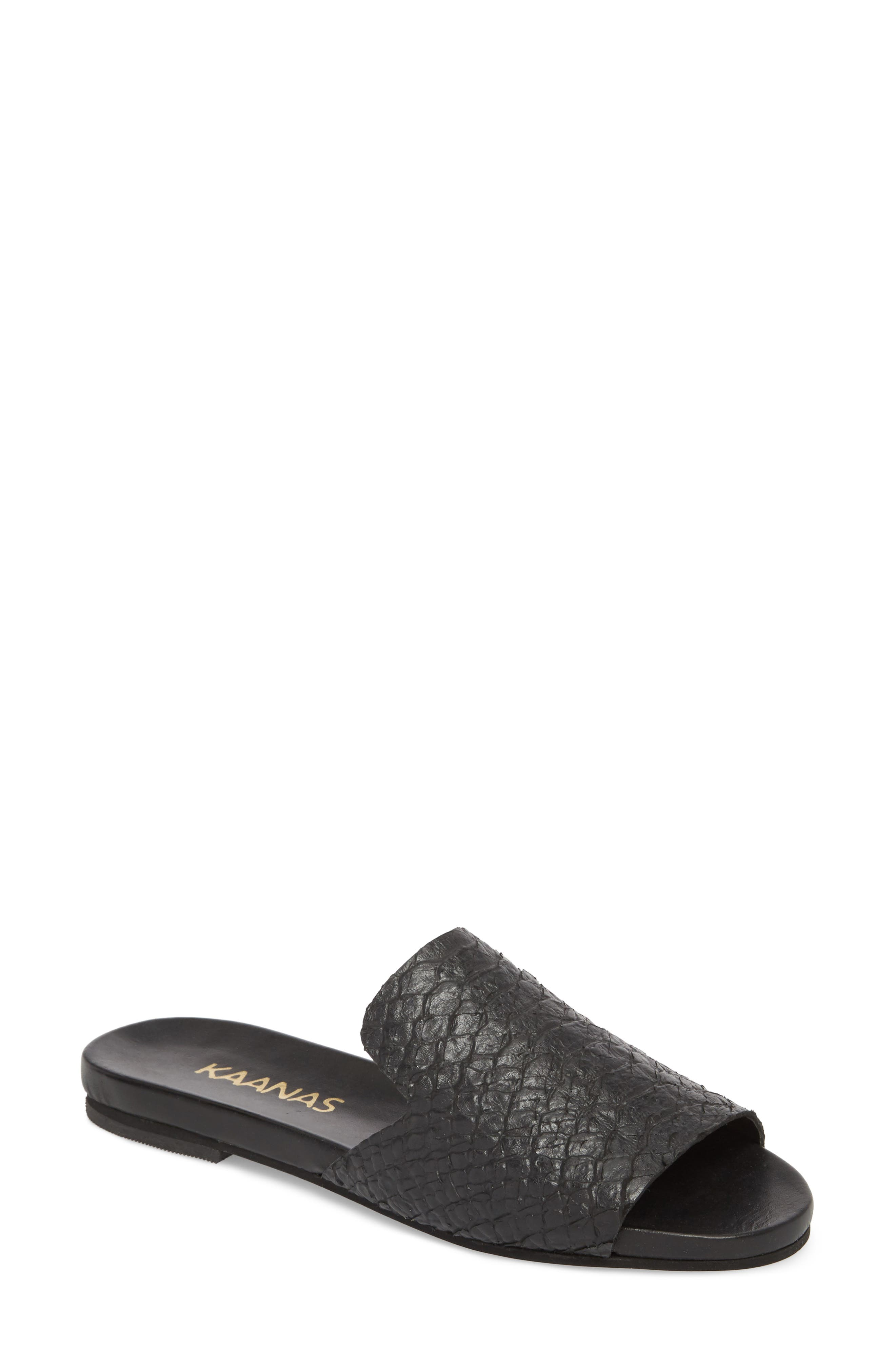 Leticia Loafer Mule Sandal,                             Main thumbnail 1, color,                             BLACK