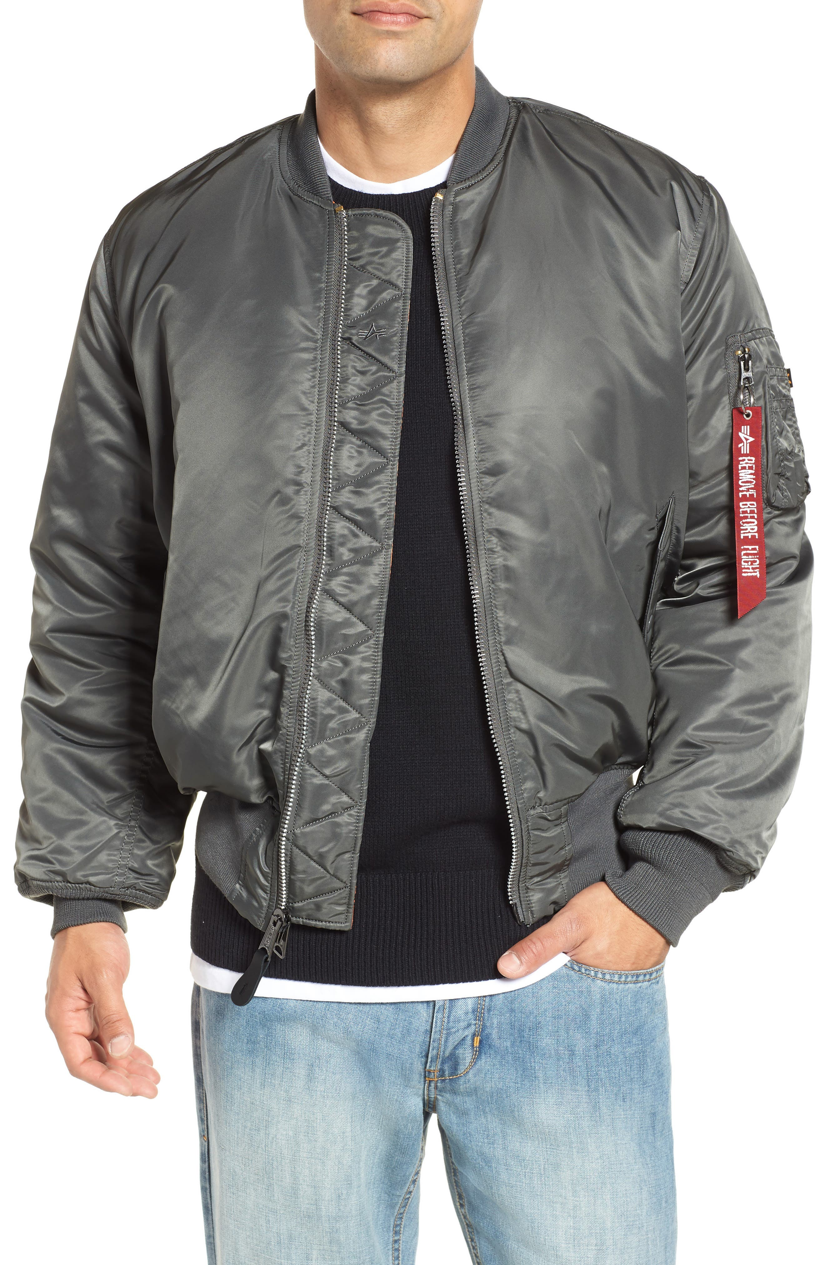Reversible Flight Jacket,                         Main,                         color, GUNMETAL