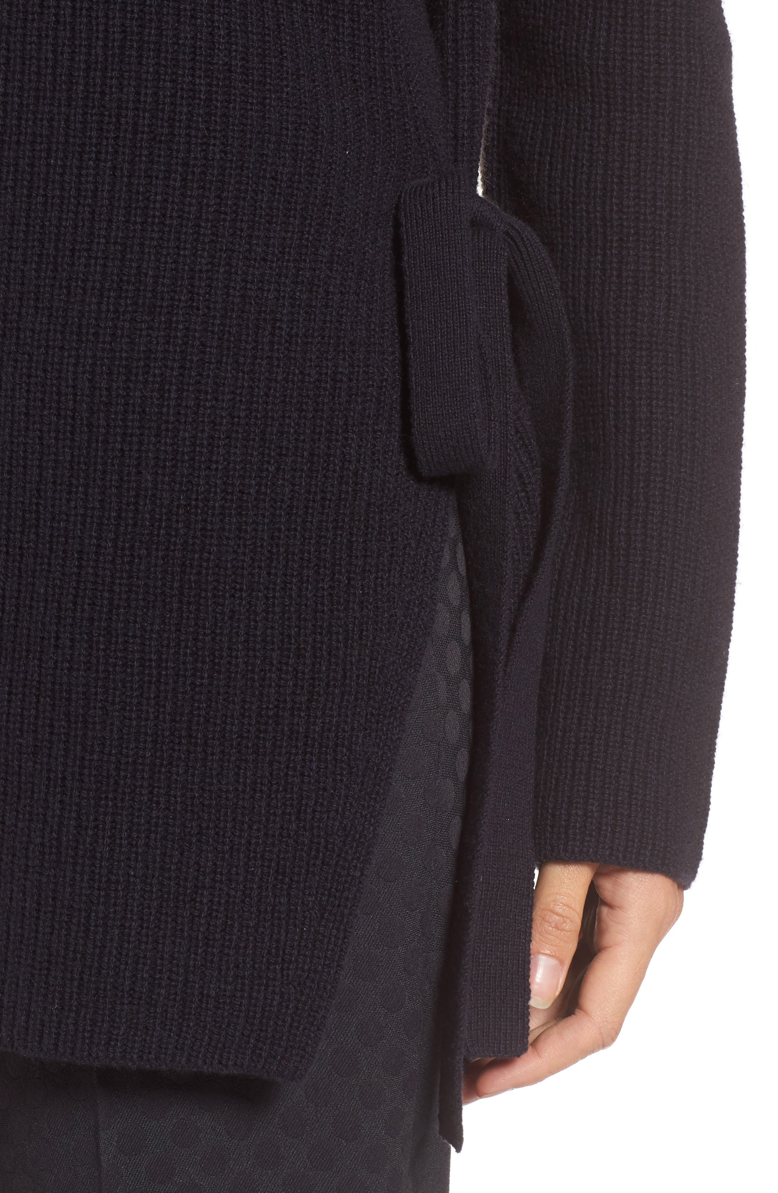 Filda Tie Side Wool Blend Sweater,                             Alternate thumbnail 4, color,                             480
