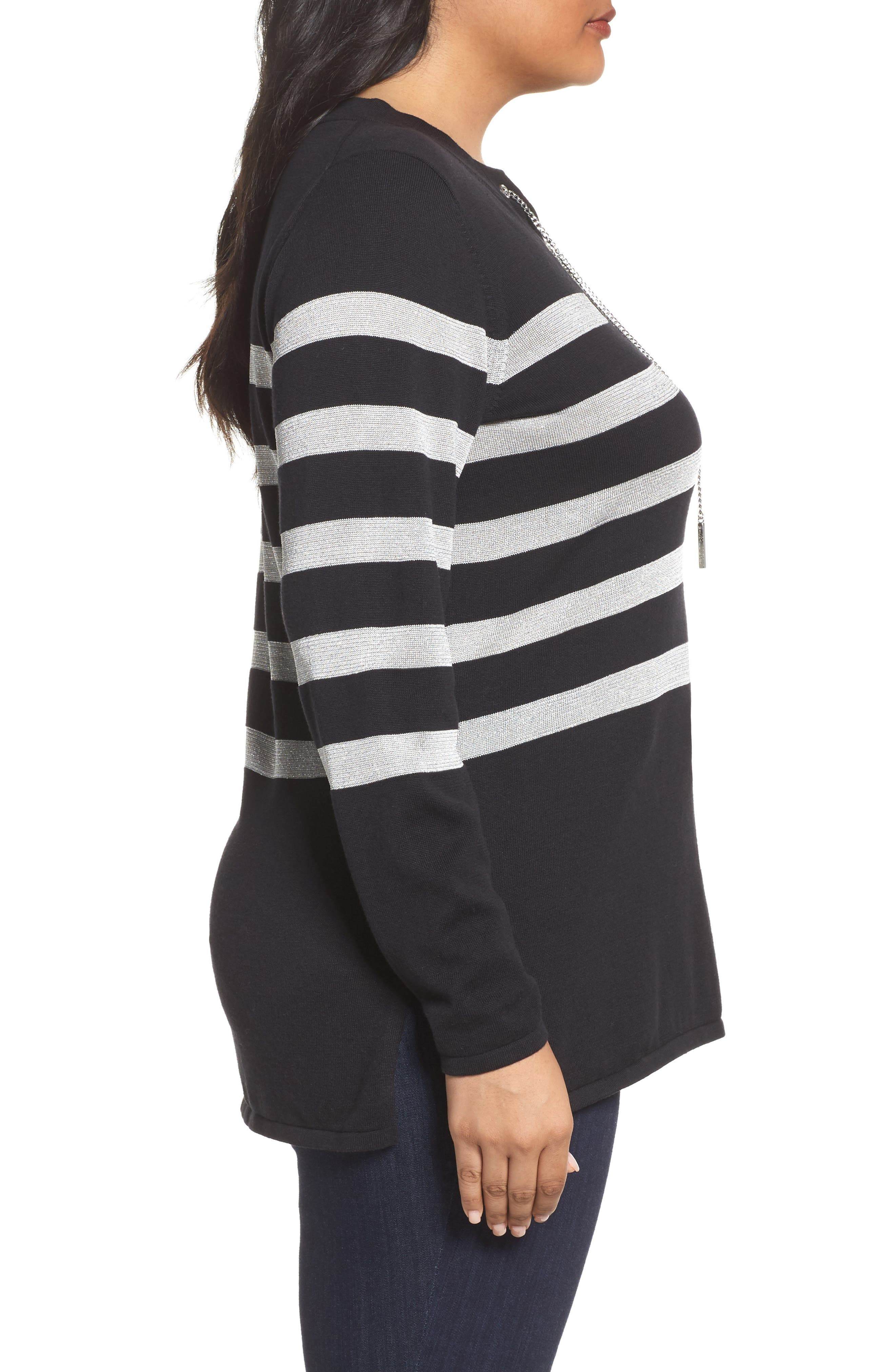 Chain Lace-Up Stripe Sweater,                             Alternate thumbnail 3, color,                             009