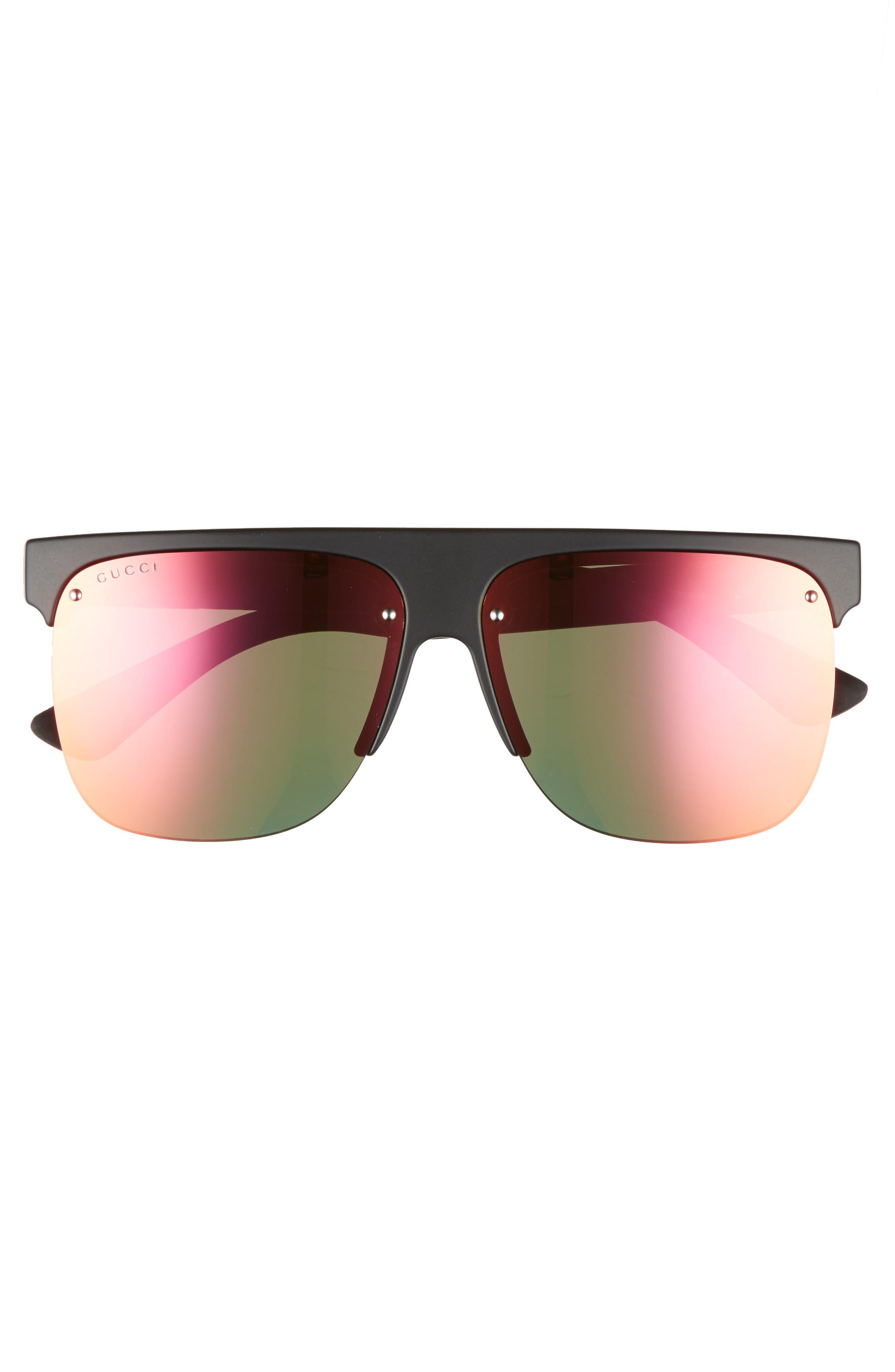 60mm Semi Rimless Polarized Sunglasses,                             Alternate thumbnail 2, color,                             001