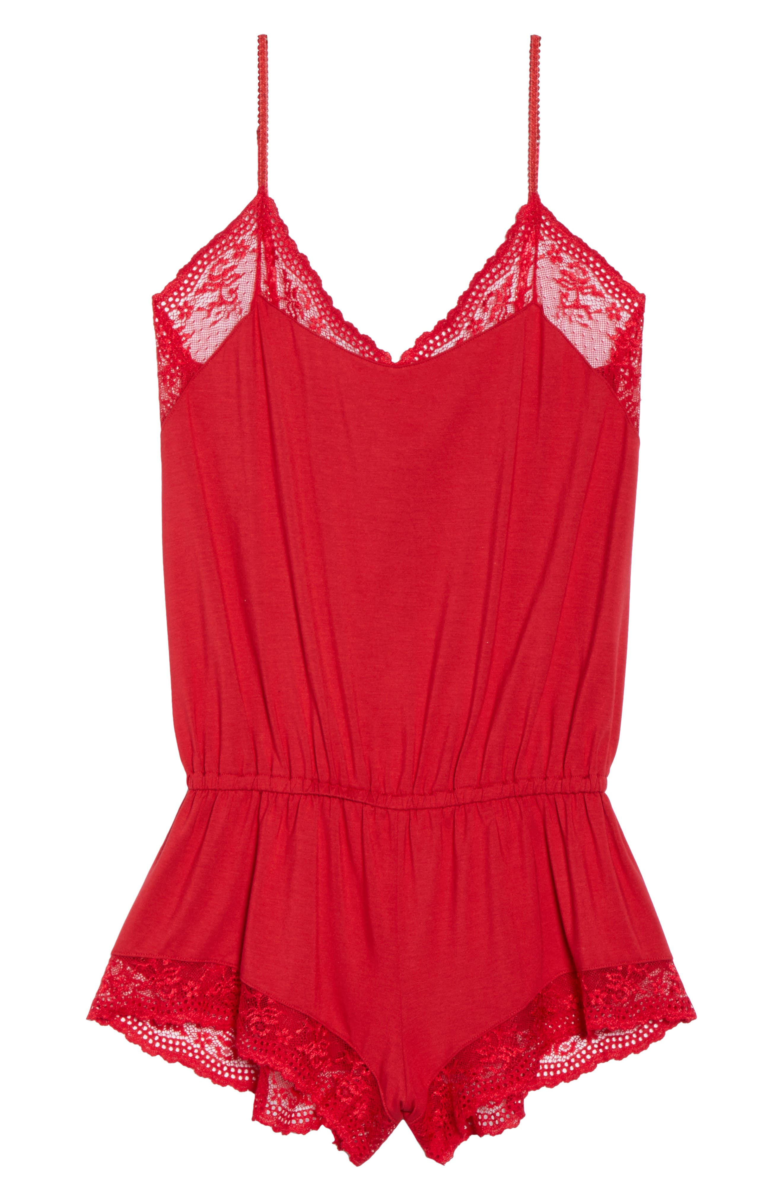 EBERJEY,                             Colette Lace Trim Romper,                             Alternate thumbnail 6, color,                             615