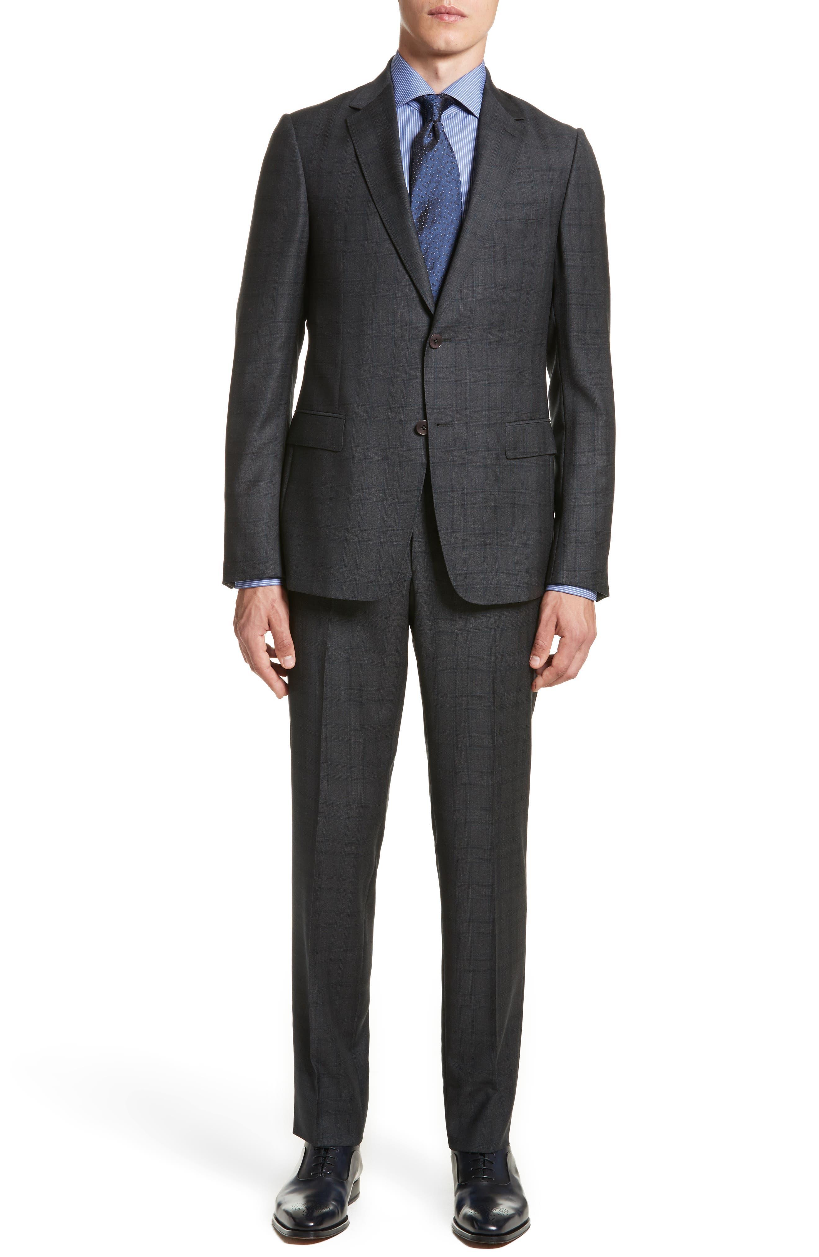 Classic Fit Plaid Wool Suit,                             Main thumbnail 1, color,                             026