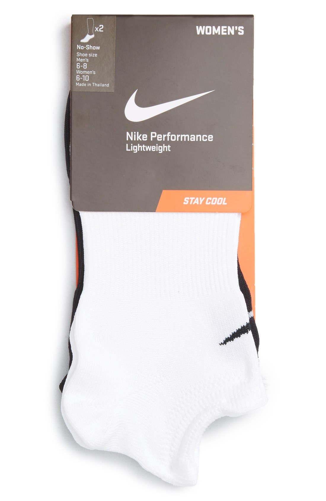 Performance 2-Pack No-Show Socks,                         Main,                         color, 100