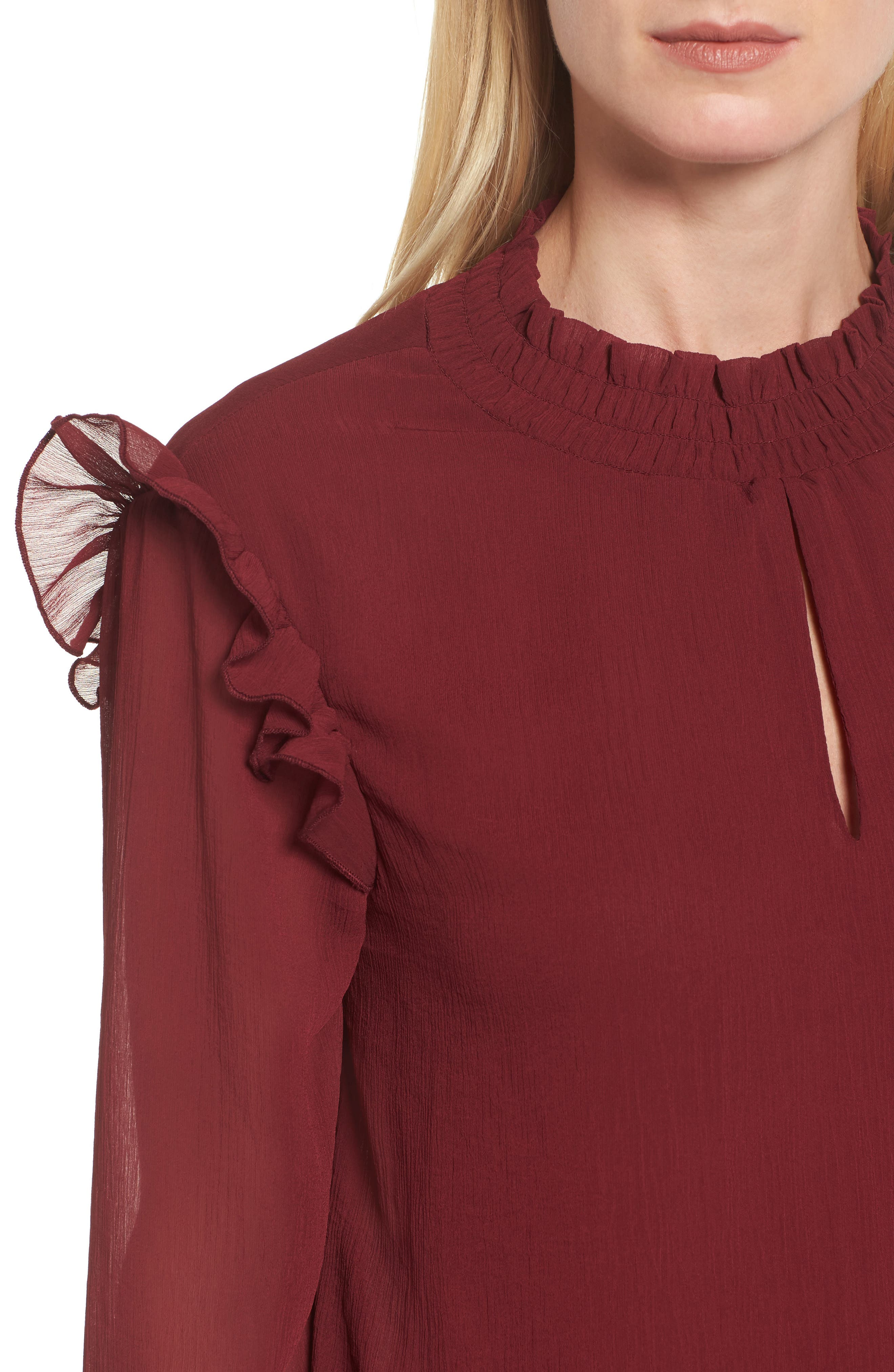 Ruffle Sleeve Blouse,                             Alternate thumbnail 8, color,
