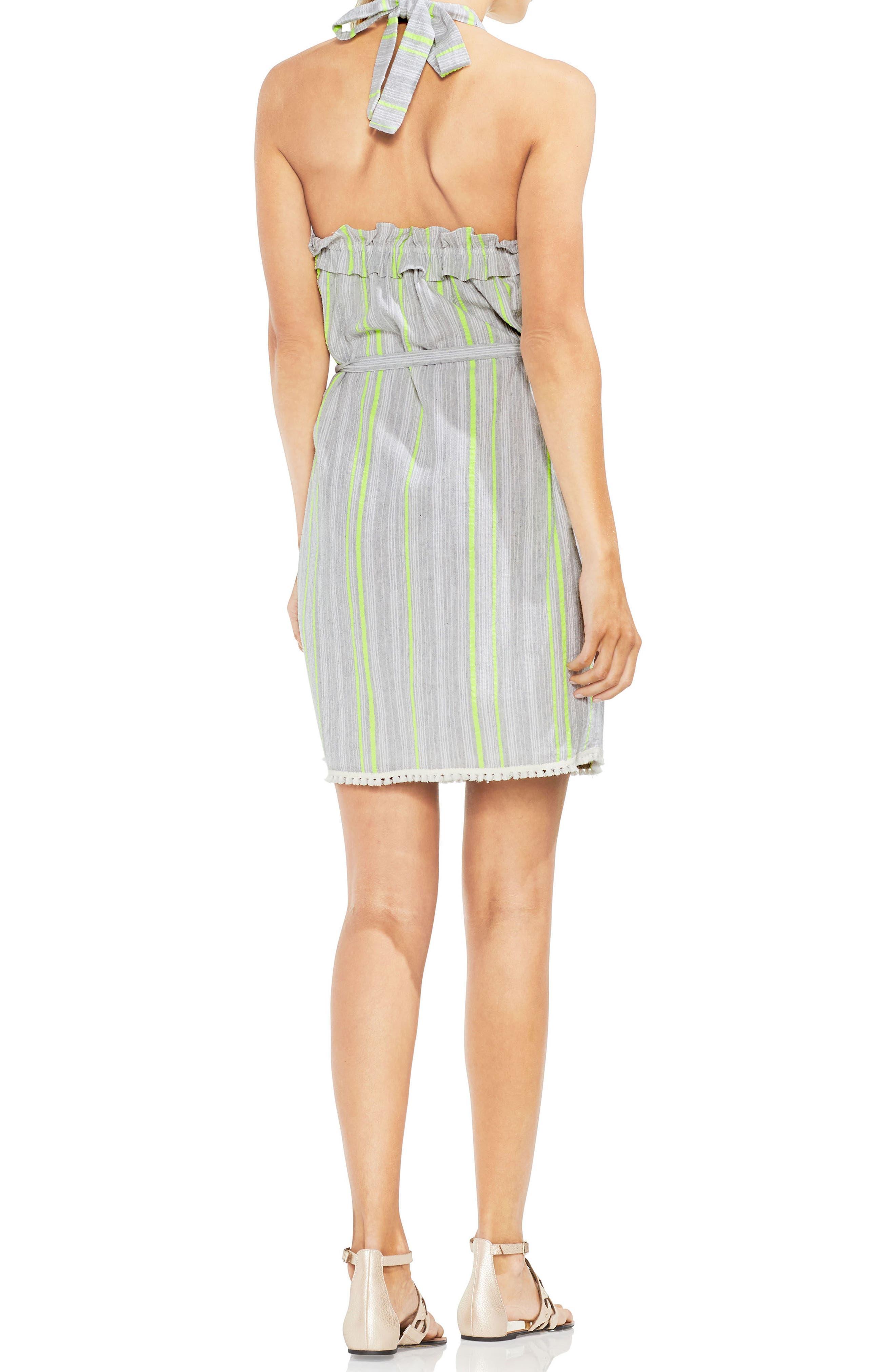 Halter Top Stripe Cotton Blend Dress,                             Alternate thumbnail 2, color,                             300