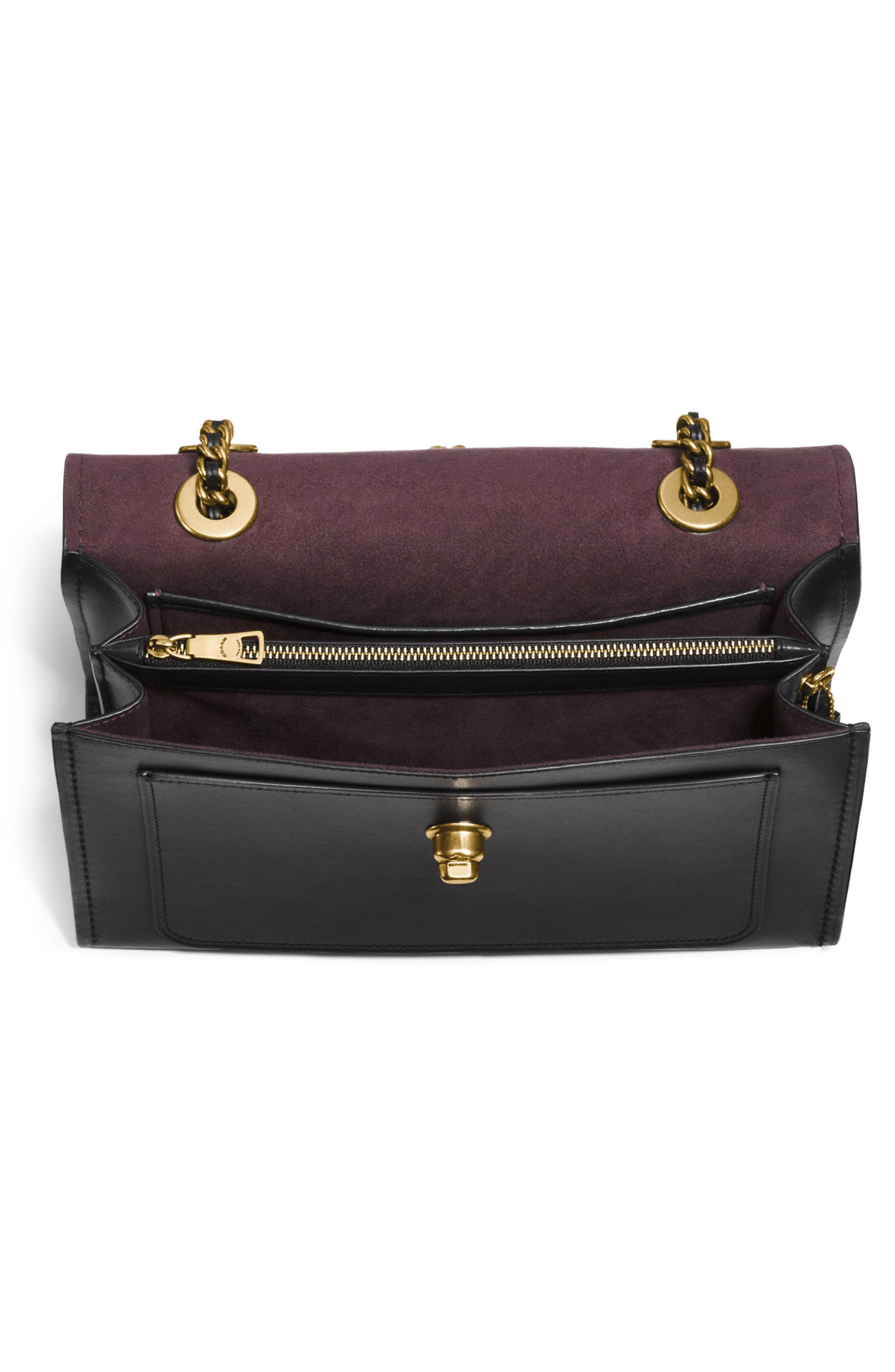 COACH,                             Parker Leather Shoulder Bag,                             Alternate thumbnail 4, color,                             001