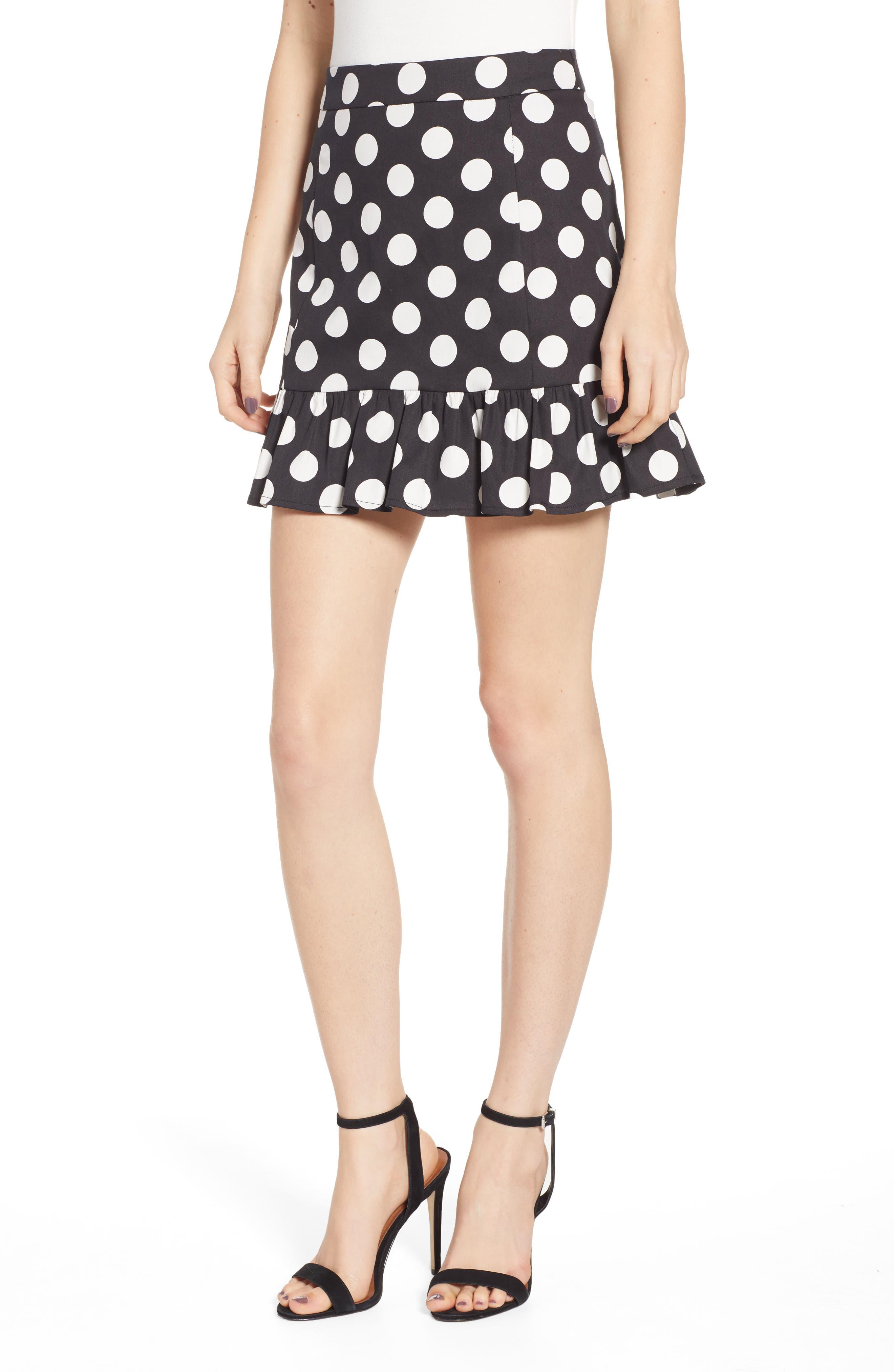 Endless Rose Polka Dot Miniskirt, Black