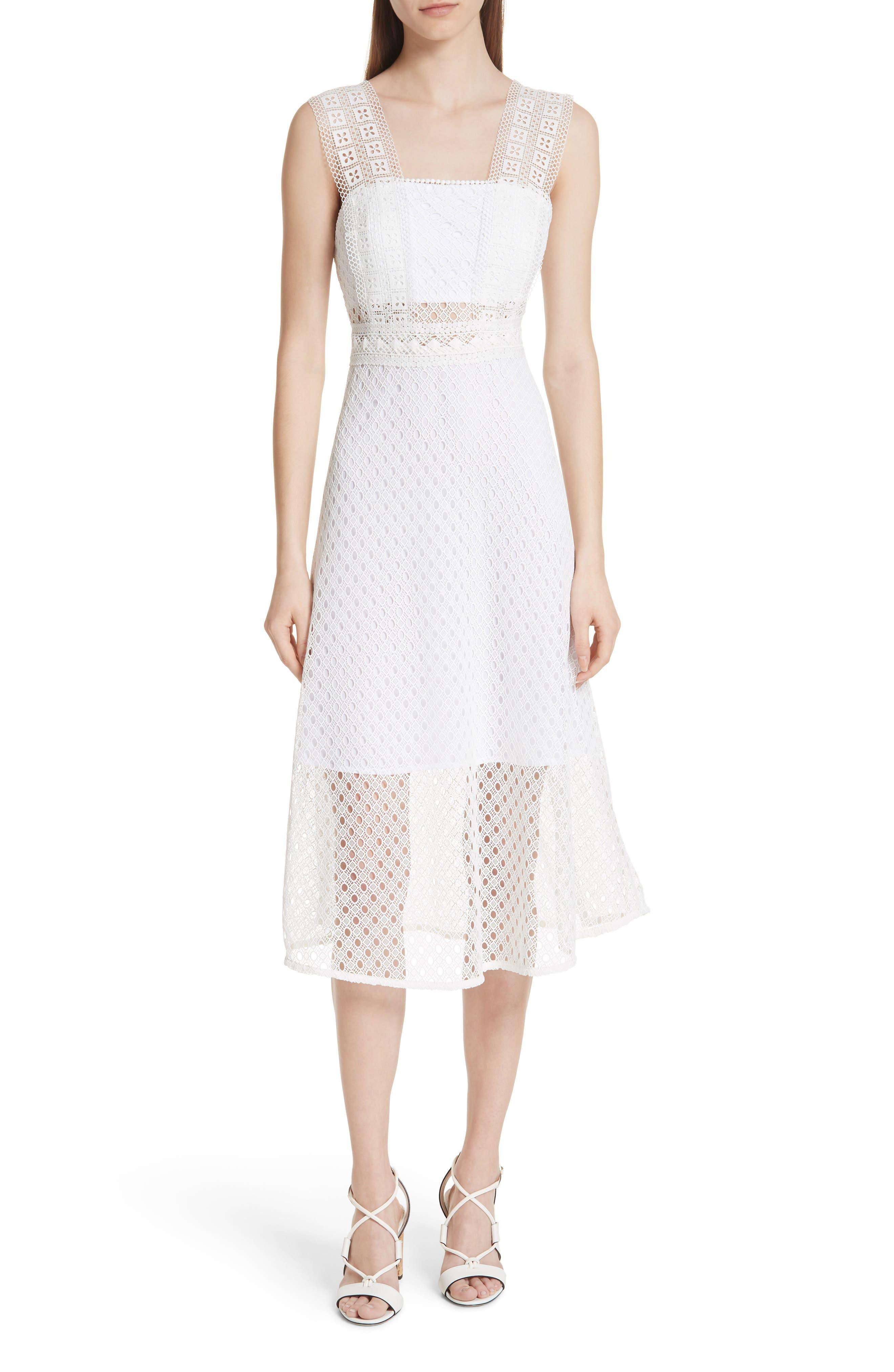 Blanc Lace Square Neck Dress,                         Main,                         color, 100