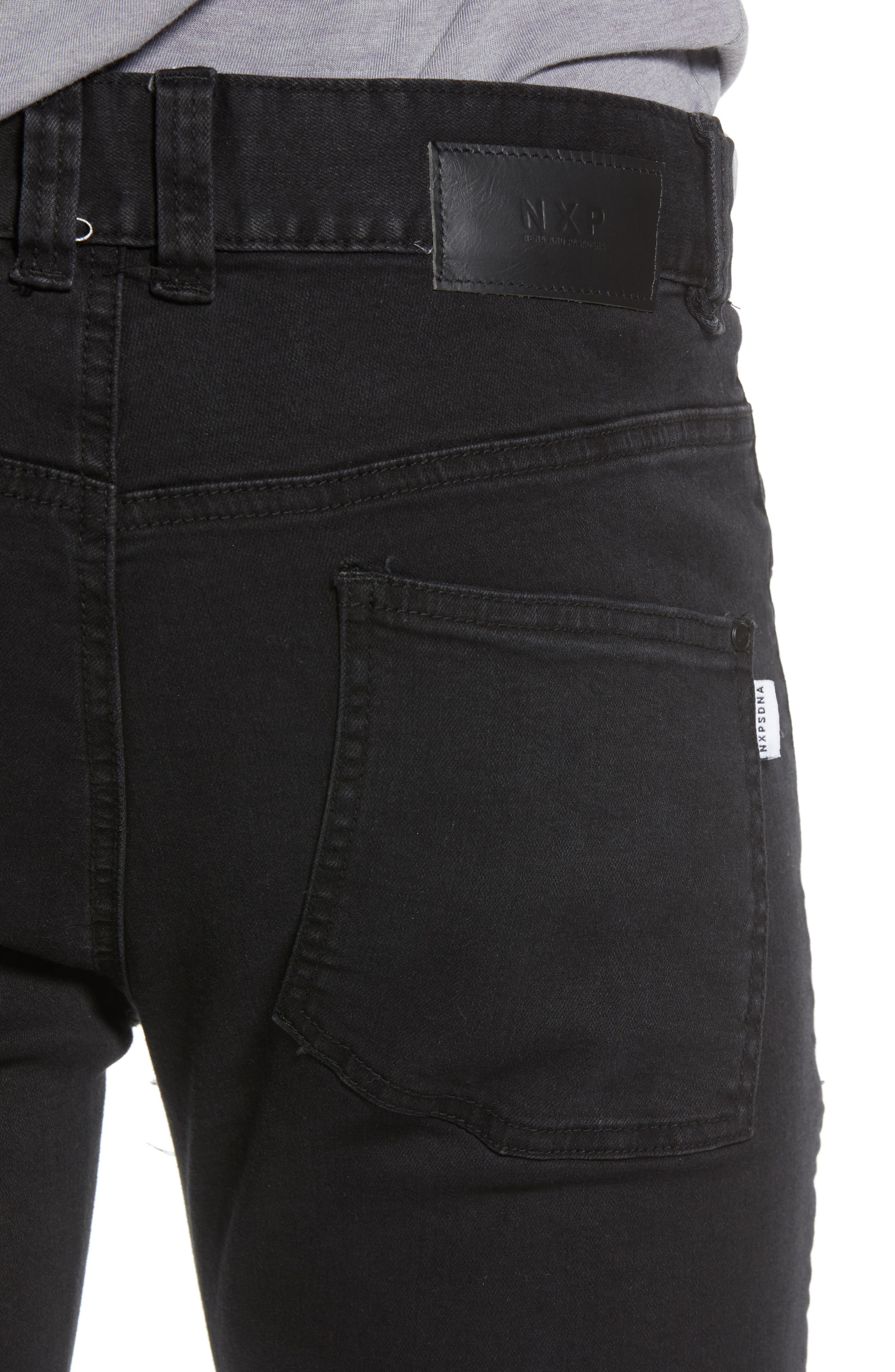 Combination Moto Skinny Moto Jeans,                             Alternate thumbnail 4, color,                             BLACK