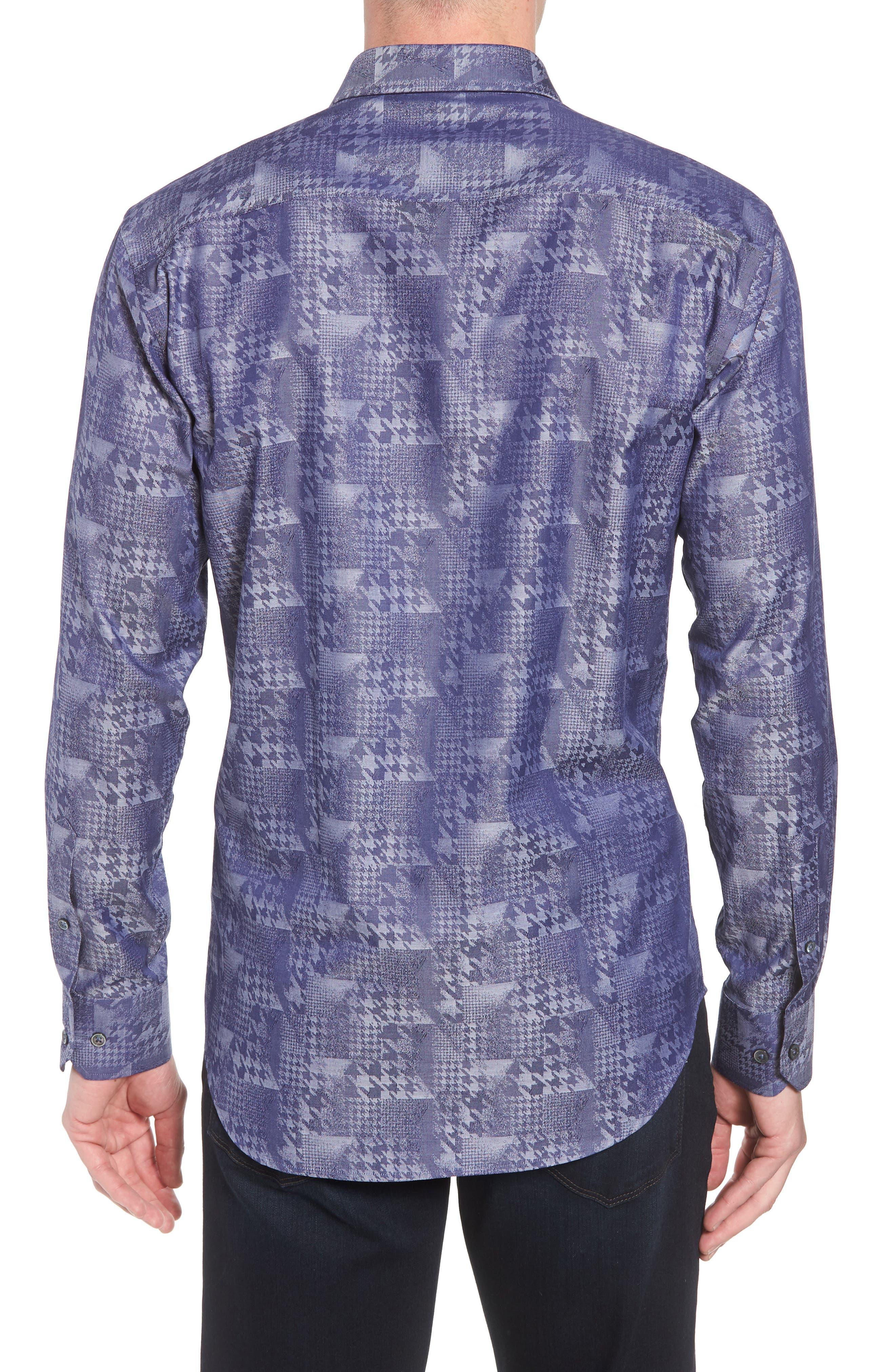 Shaped Fit Glen Check Sport Shirt,                             Alternate thumbnail 2, color,                             INDIGO