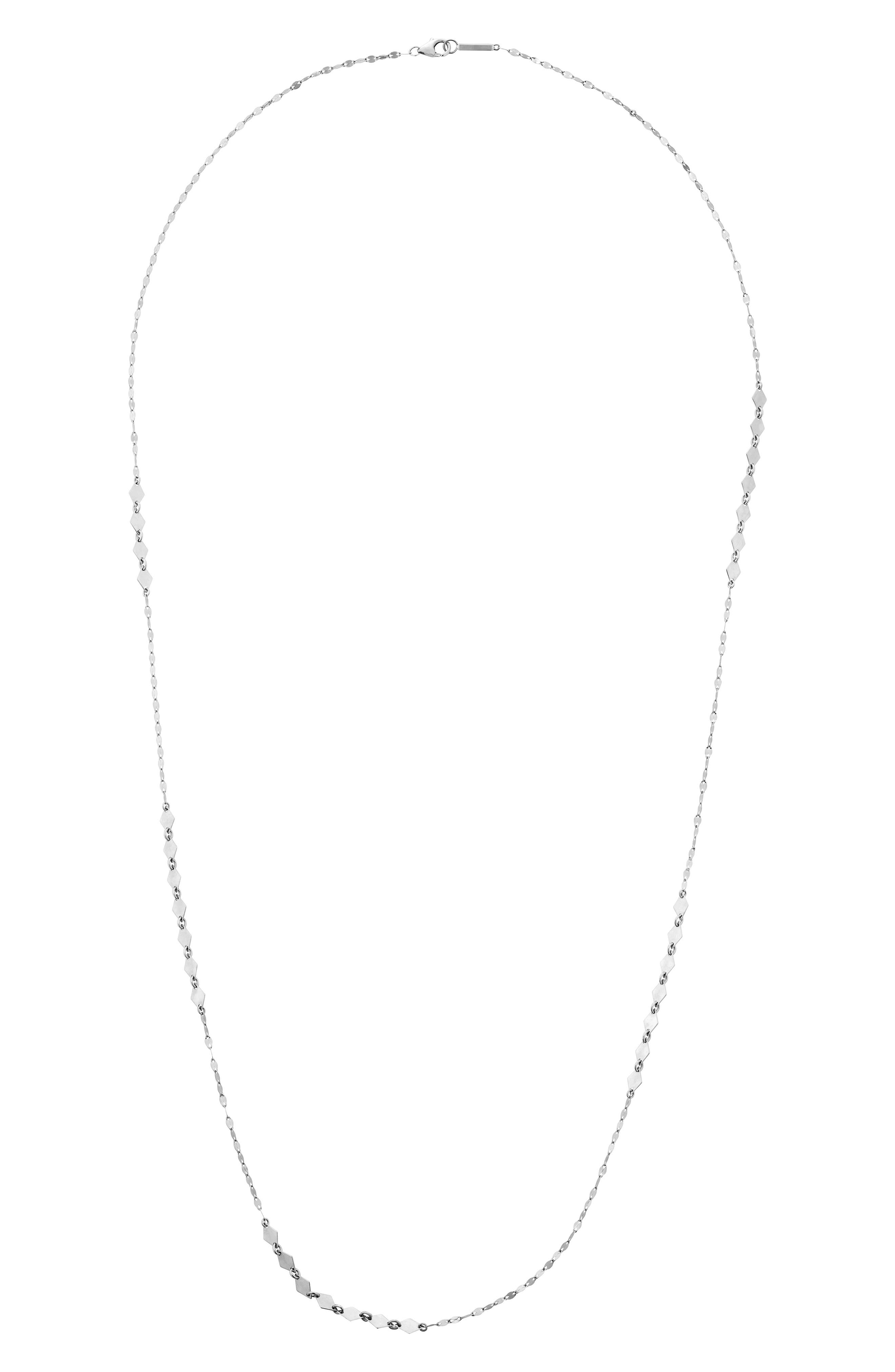 LANA JEWELRY Mixed Mini Kite Long Station Necklace in White Gold