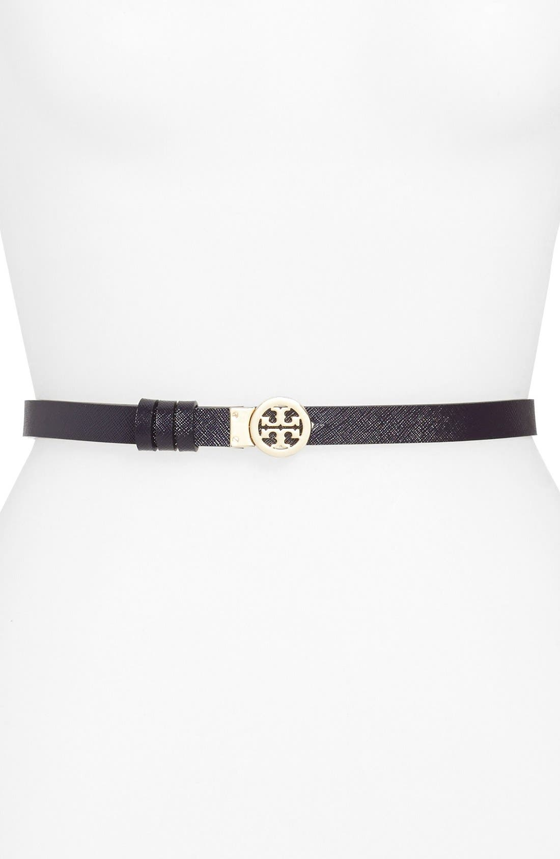 Rotating Logo Skinny Leather Belt,                             Alternate thumbnail 2, color,                             024