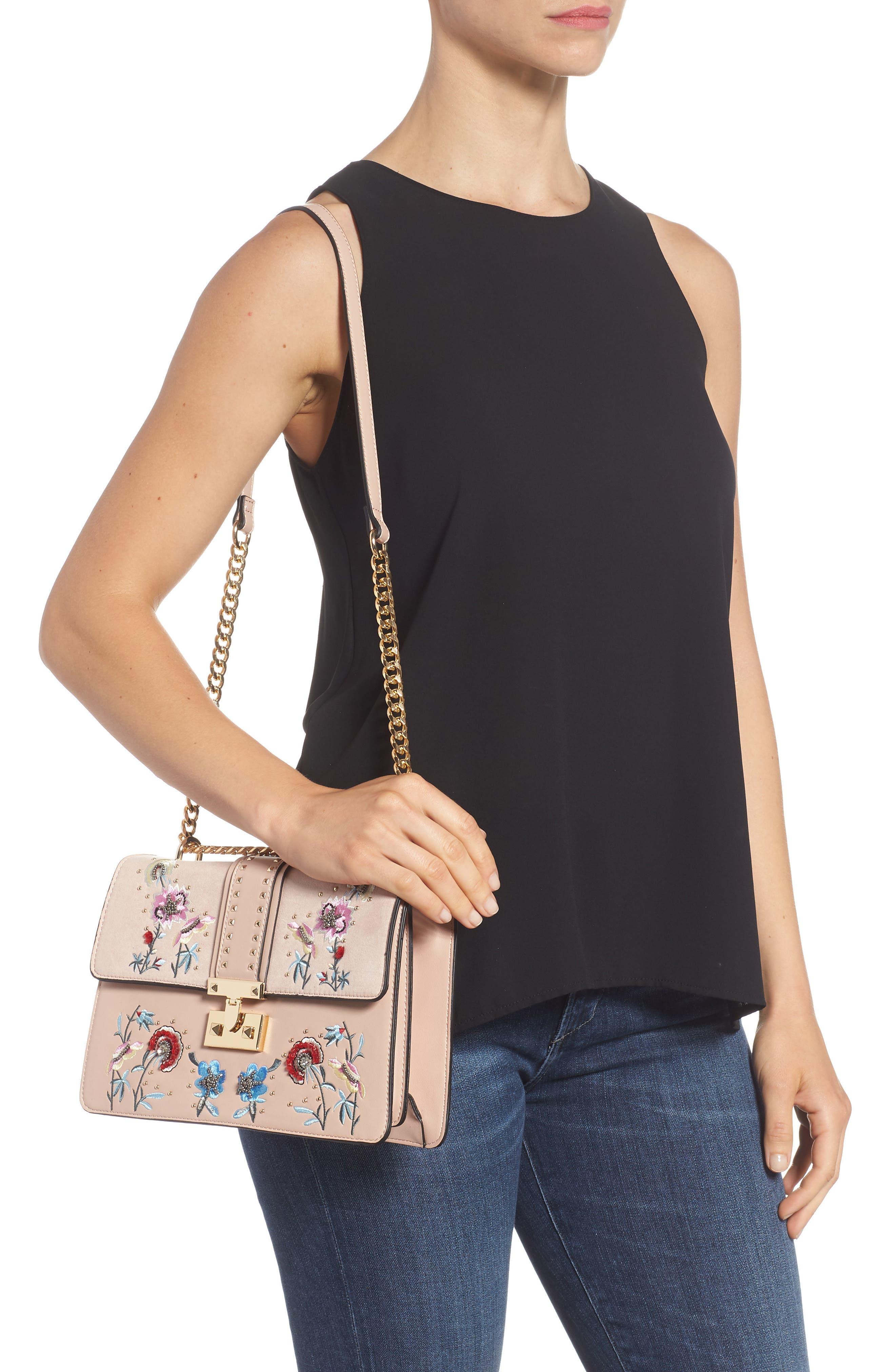 Darcy Floral Shoulder Bag,                             Alternate thumbnail 2, color,                             PINK MULTI