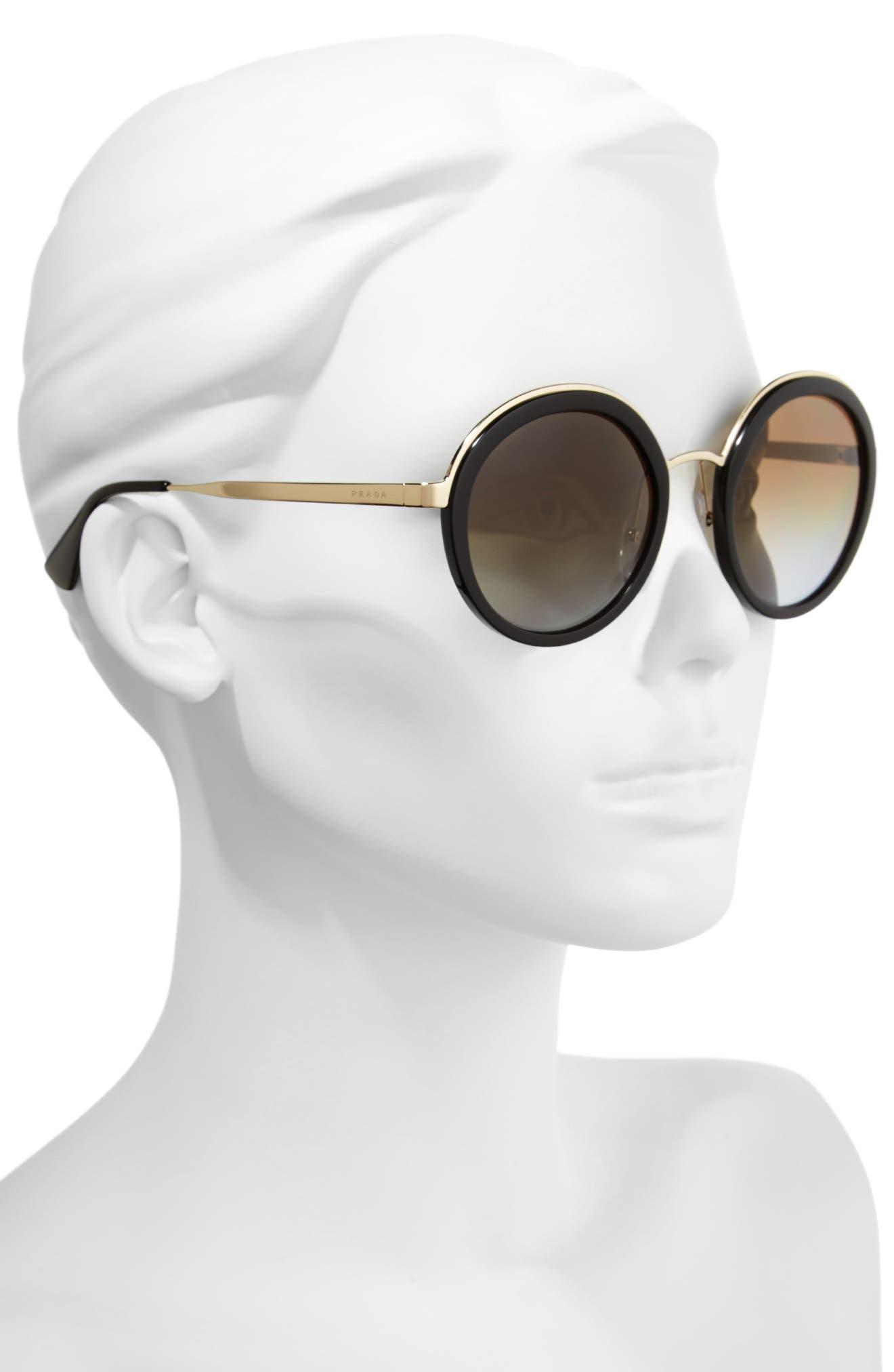 54mm Polarized Round Sunglasses,                             Alternate thumbnail 2, color,                             001