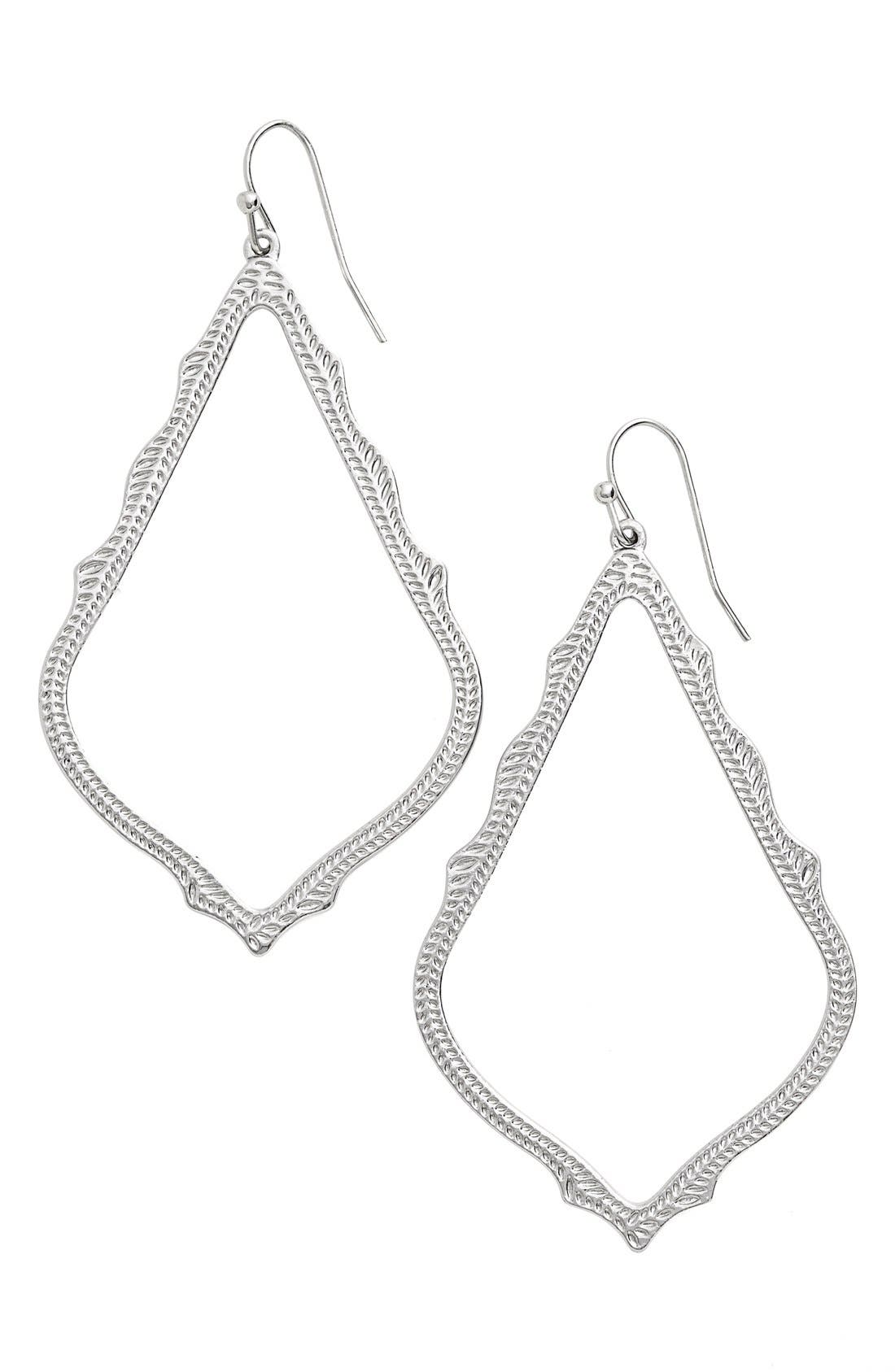 'Sophee' Textured Drop Earrings,                             Main thumbnail 1, color,                             SILVER