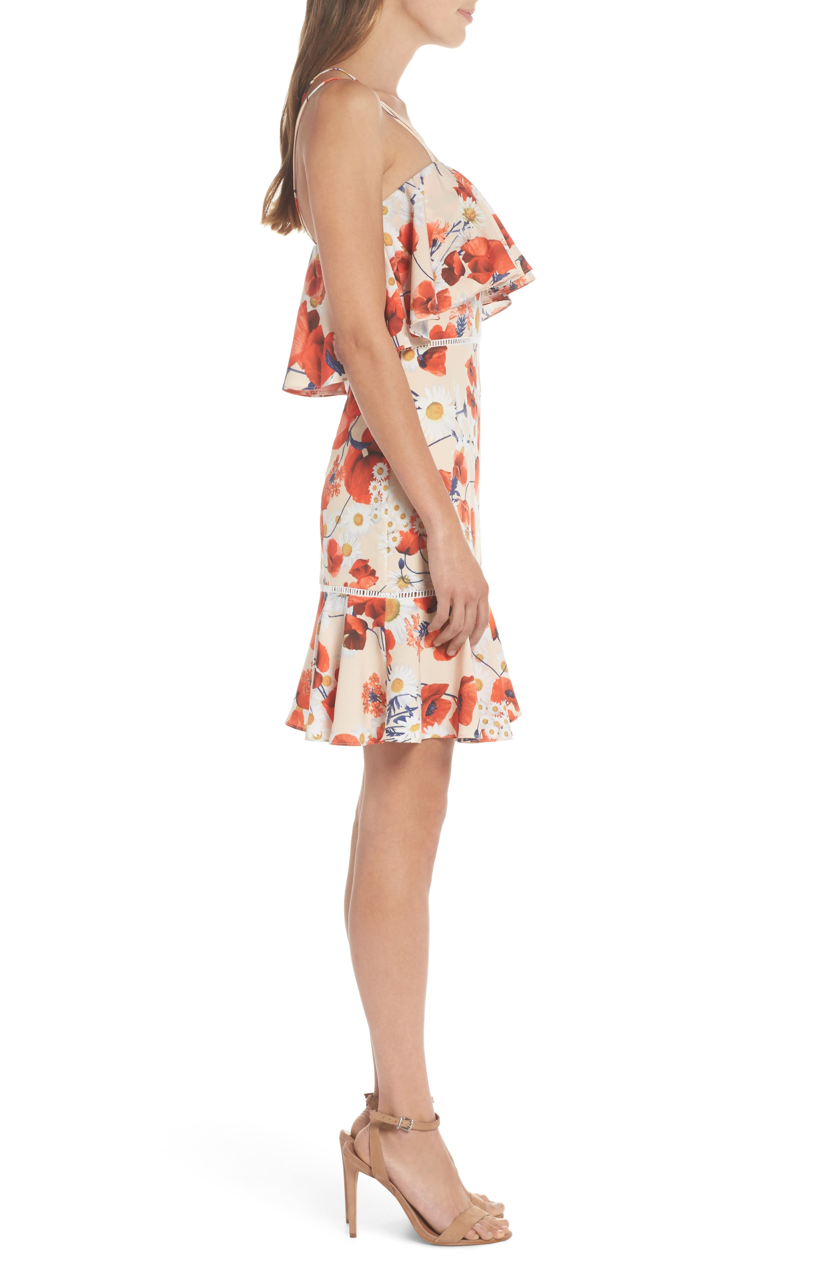 Lola Printed Poplin Dress,                             Alternate thumbnail 3, color,                             CORAL FLORAL