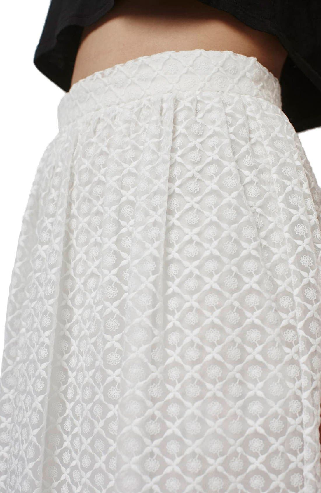 Floral Embroidered Organza Midi Skirt,                             Alternate thumbnail 3, color,                             100