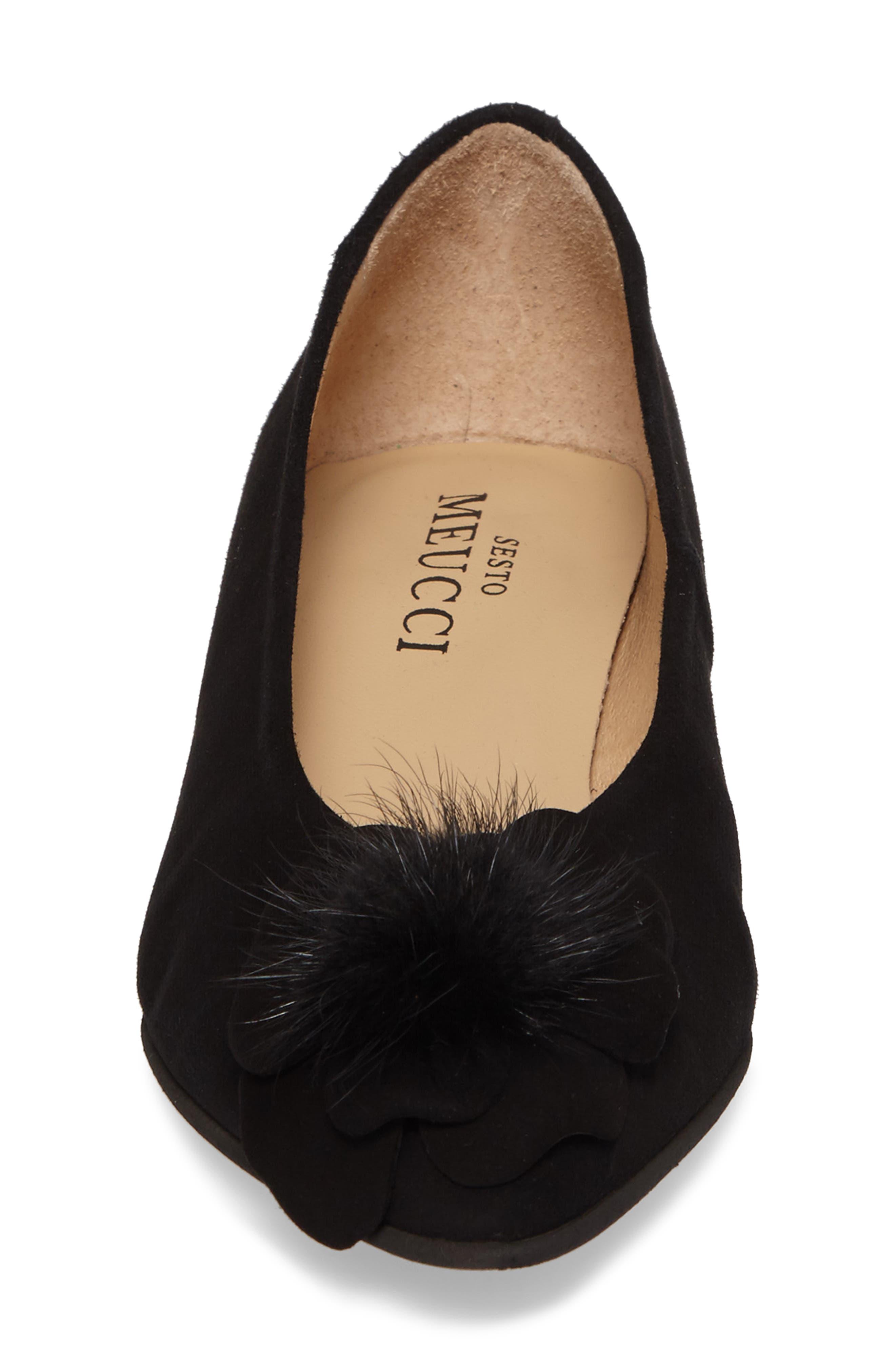 Genuine Rabbit Fur Pom Flat,                             Alternate thumbnail 4, color,                             BLACK SUEDE