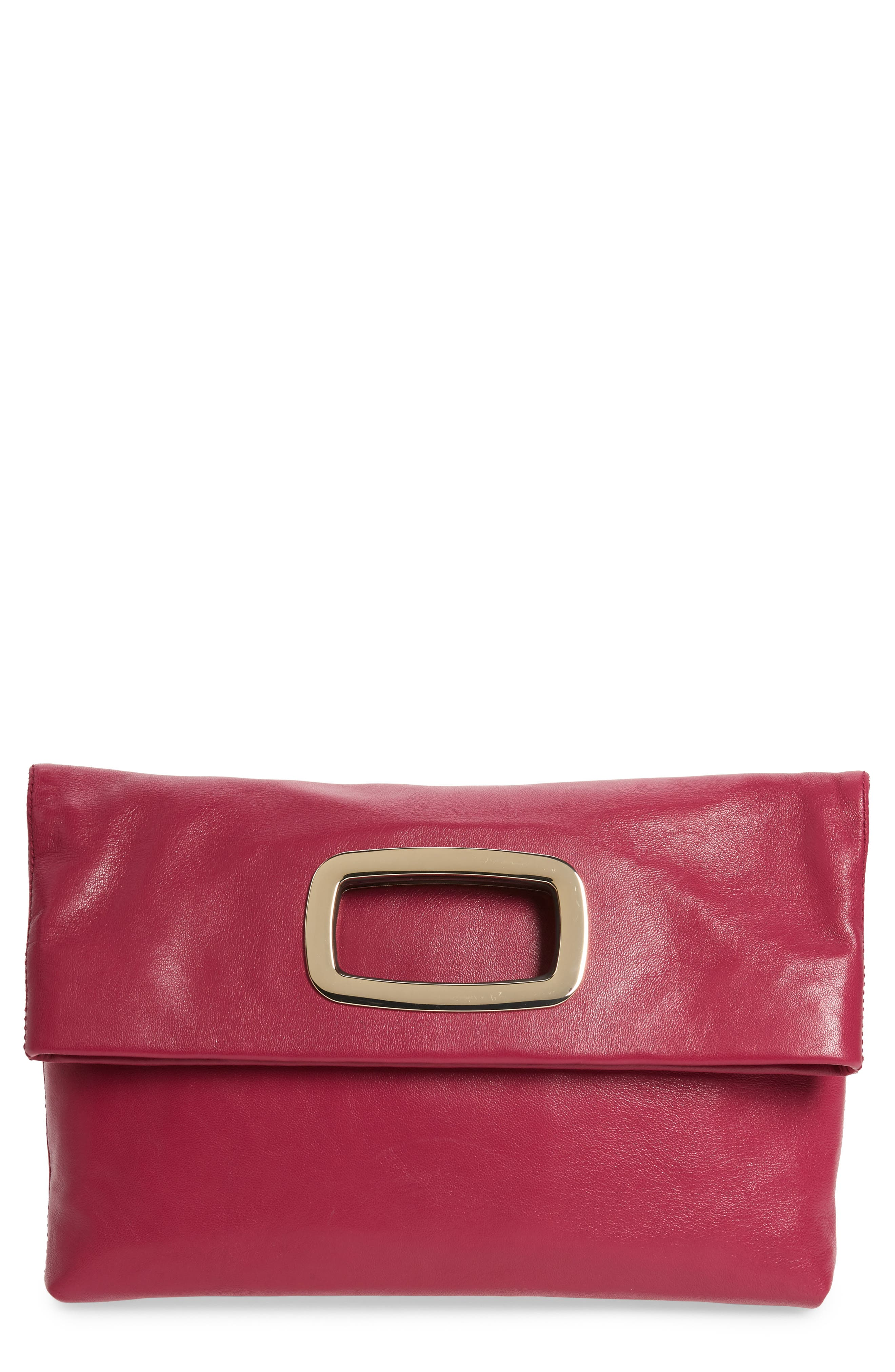 Large Marti Leather Convertible Clutch - Pink in Deep Pink