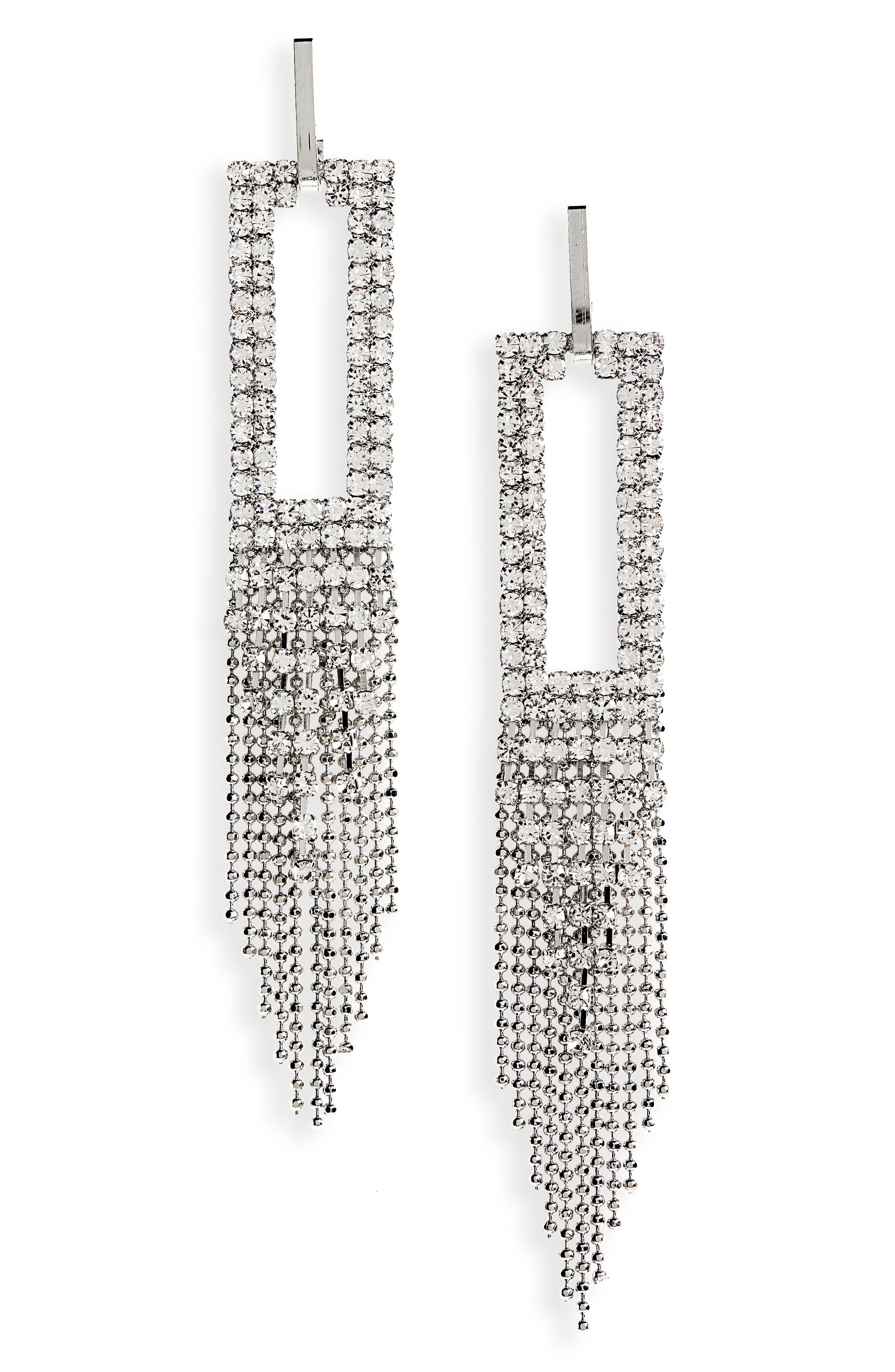 SEREFINA Chain & Crystal Drop Earrings in Silver