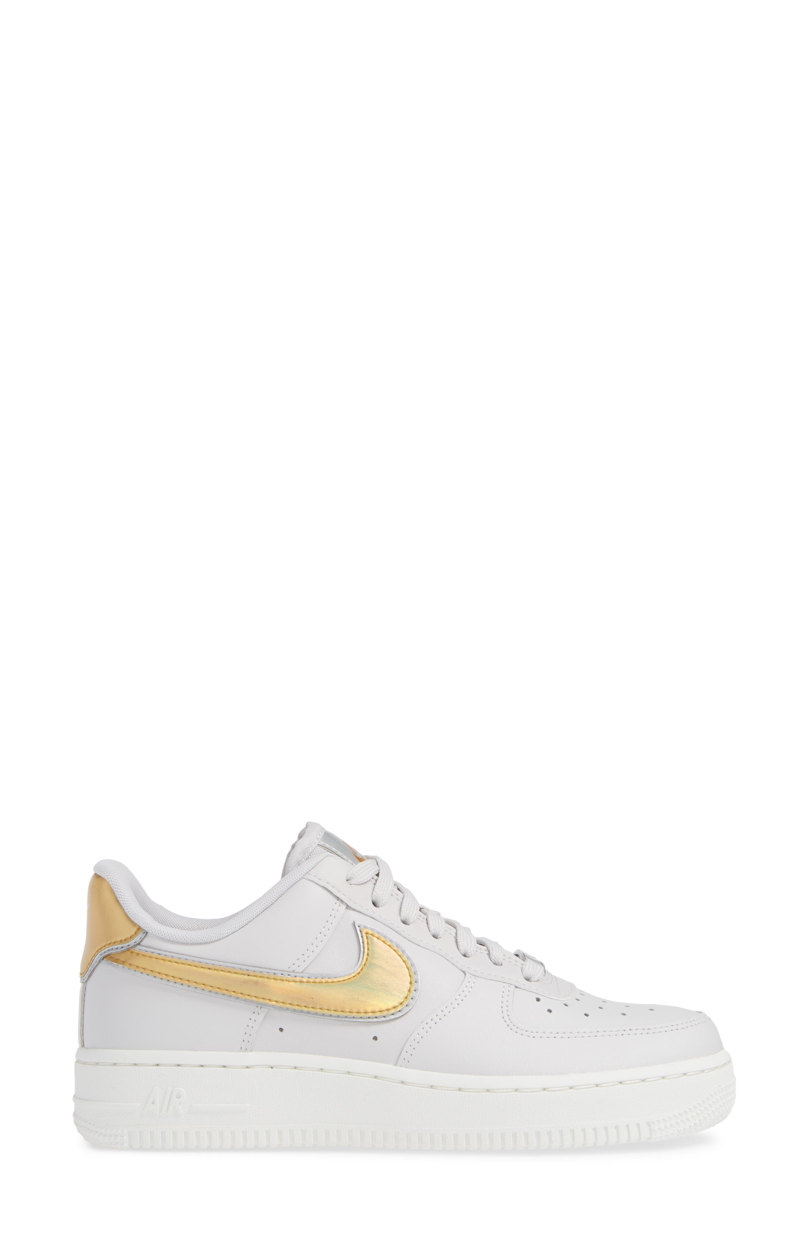 Air Force 1 '07 Premium Sneaker,                             Alternate thumbnail 3, color,                             GREY/ METALLIC GOLD- WHITE