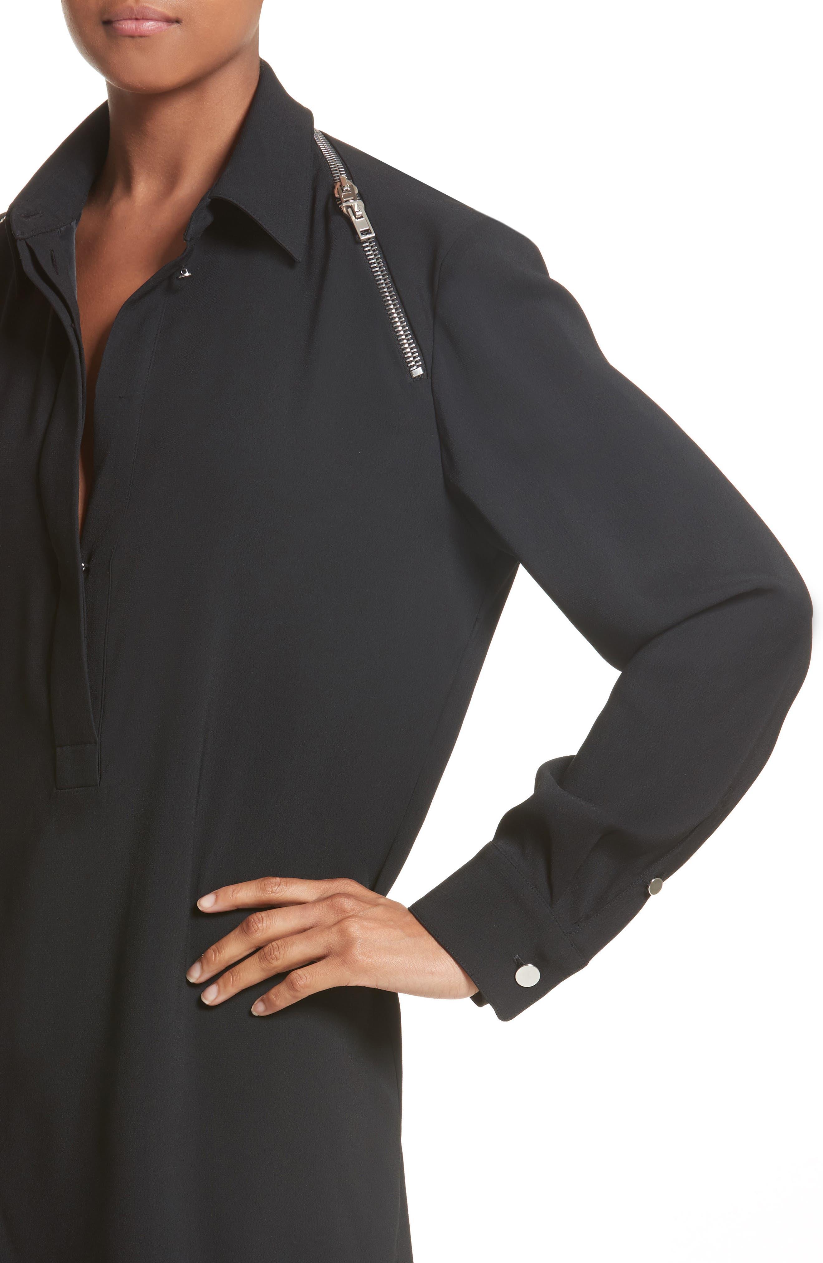 Zipper Shoulder Detail Dress,                             Alternate thumbnail 4, color,                             001