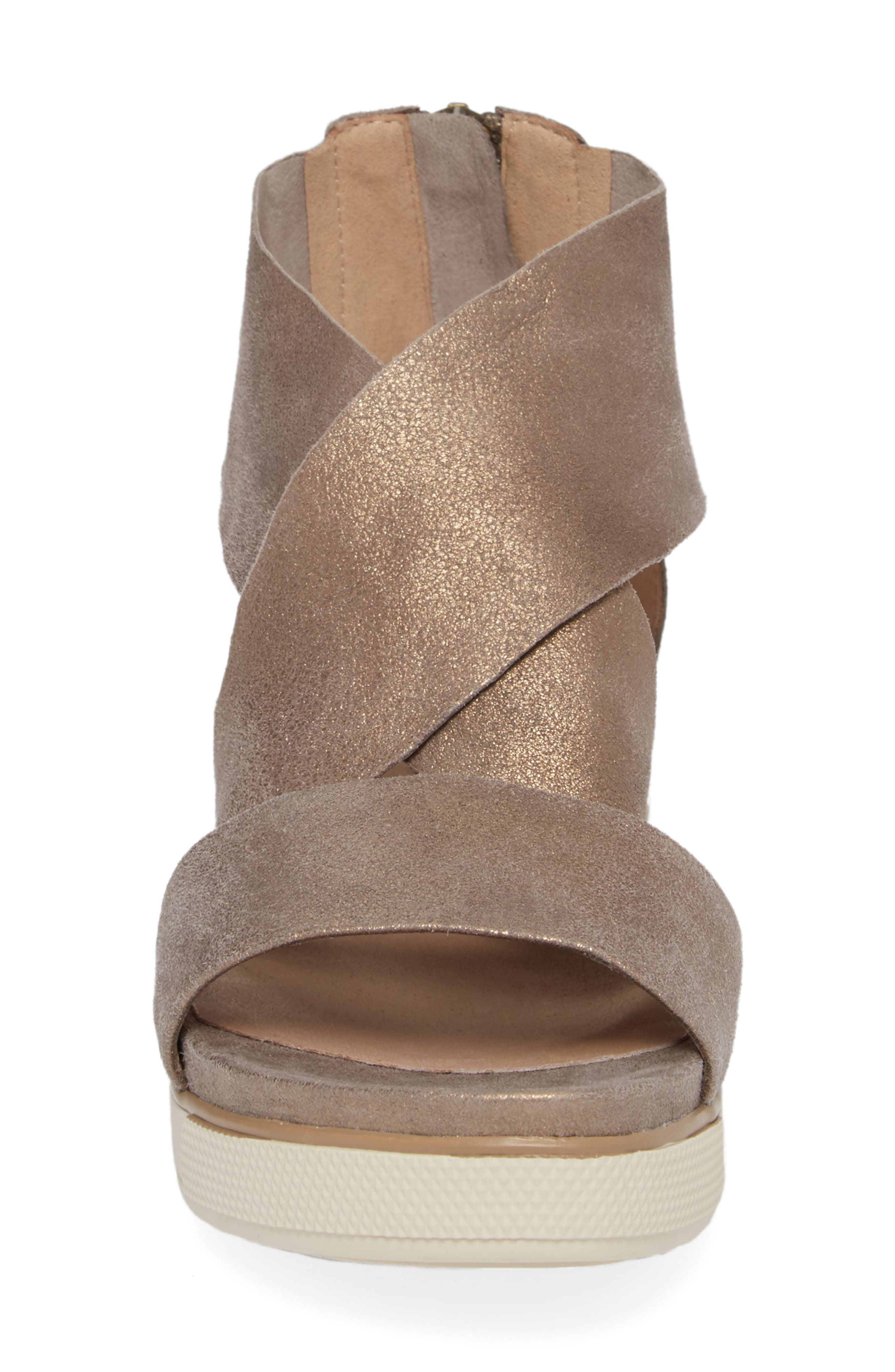 Sport Platform Sandal,                             Alternate thumbnail 4, color,                             PLATINUM LEATHER
