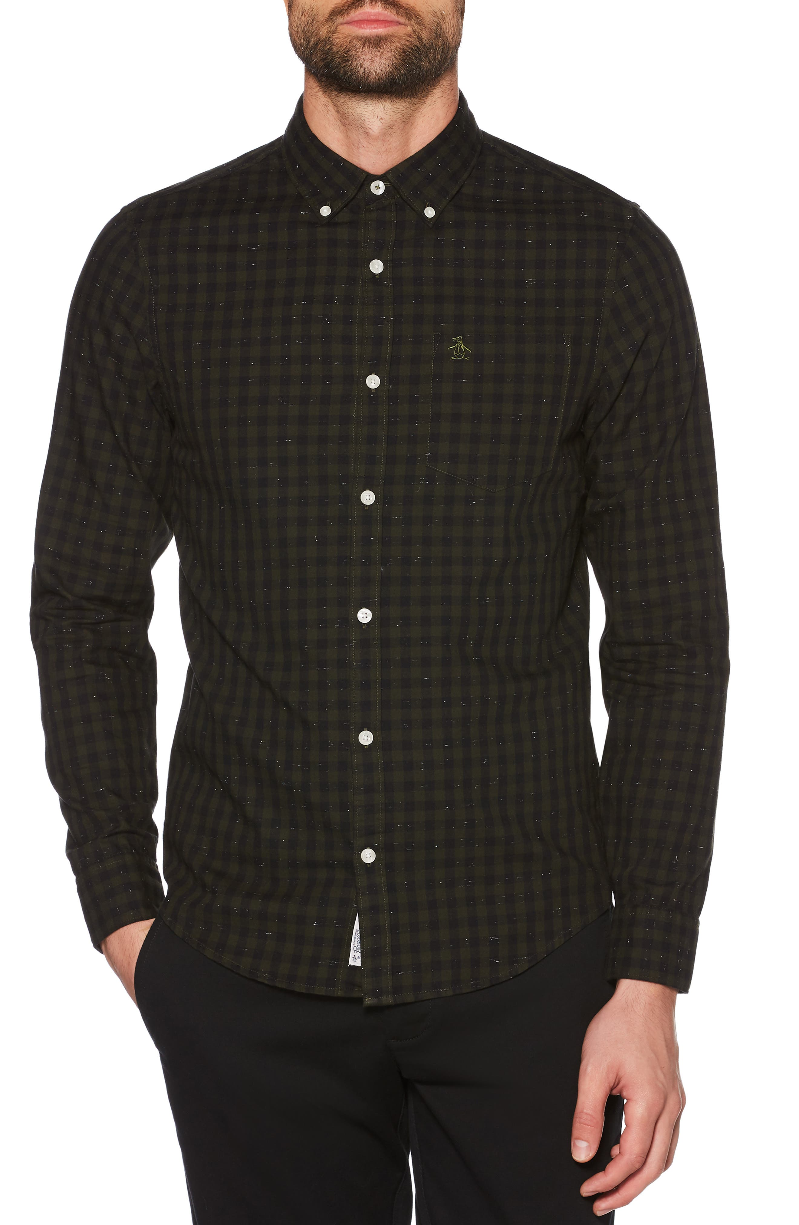 Slim Fit Neppy Gingham Sport Shirt,                         Main,                         color, BRONZE GREEN