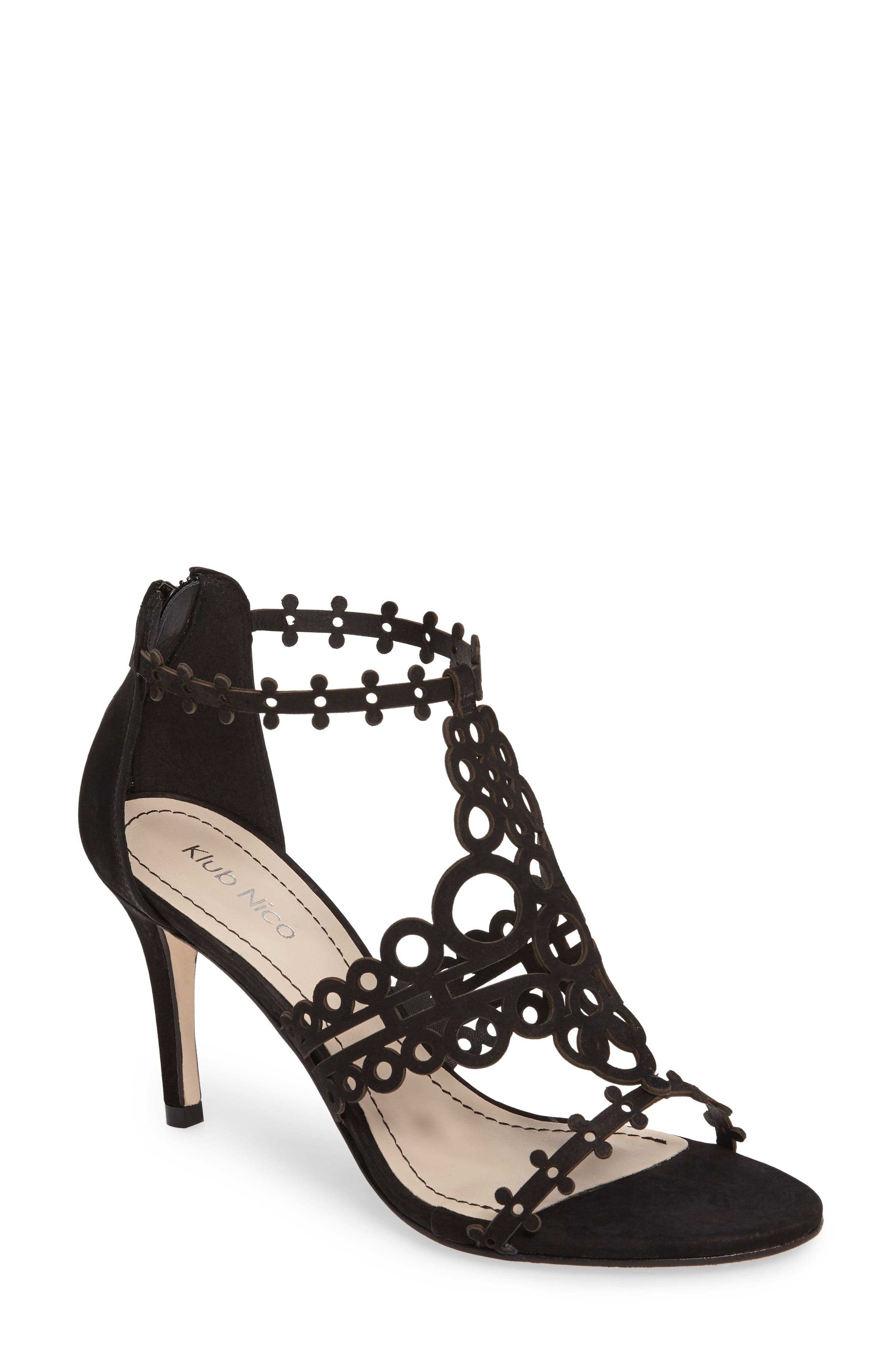 'Antonia' Laser Cut T-Strap Sandal,                         Main,                         color,