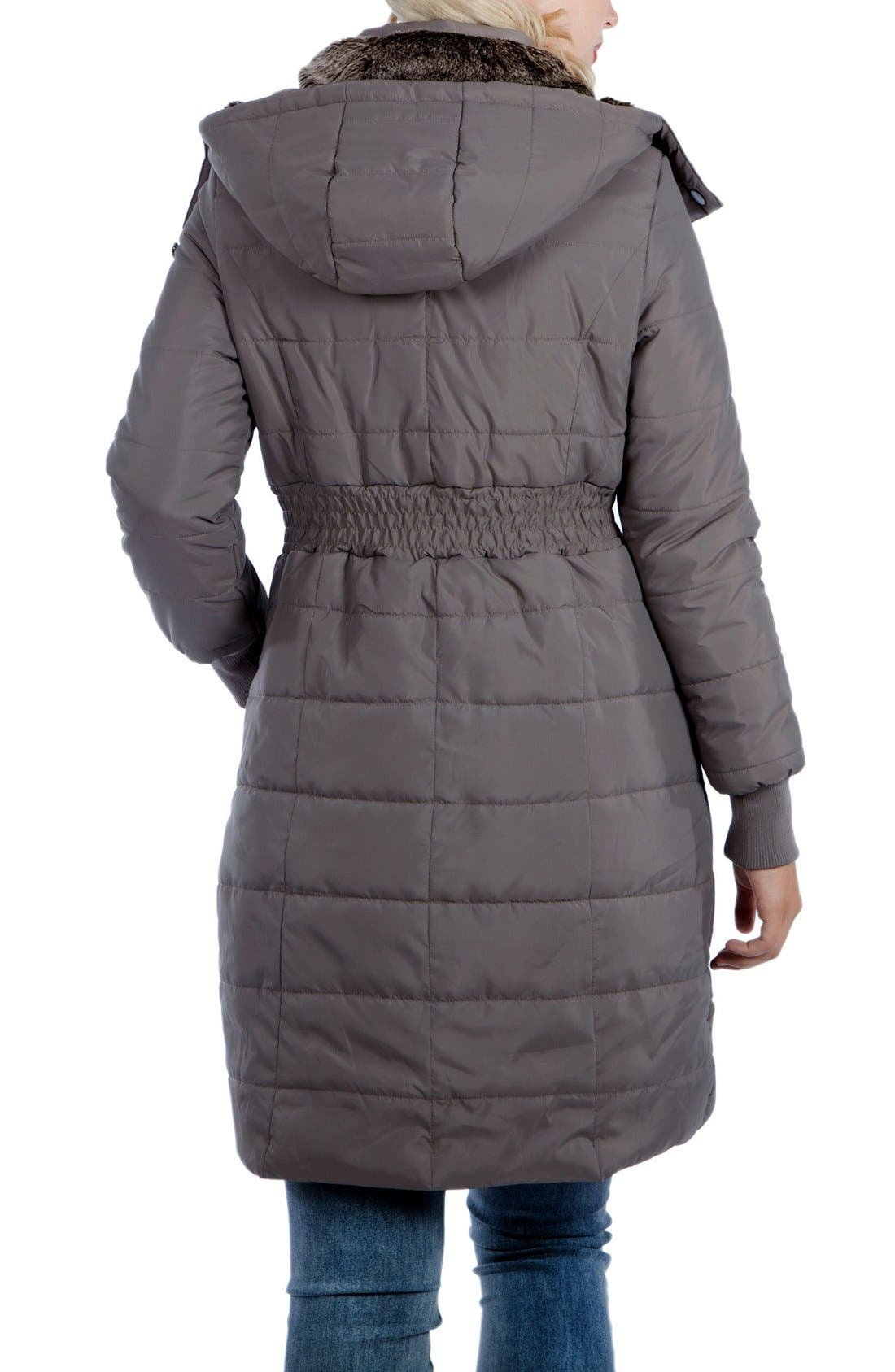 Madison Quilted 3-in-1 Maternity Puffer Coat with Faux Fur Trim,                             Alternate thumbnail 8, color,                             GREY