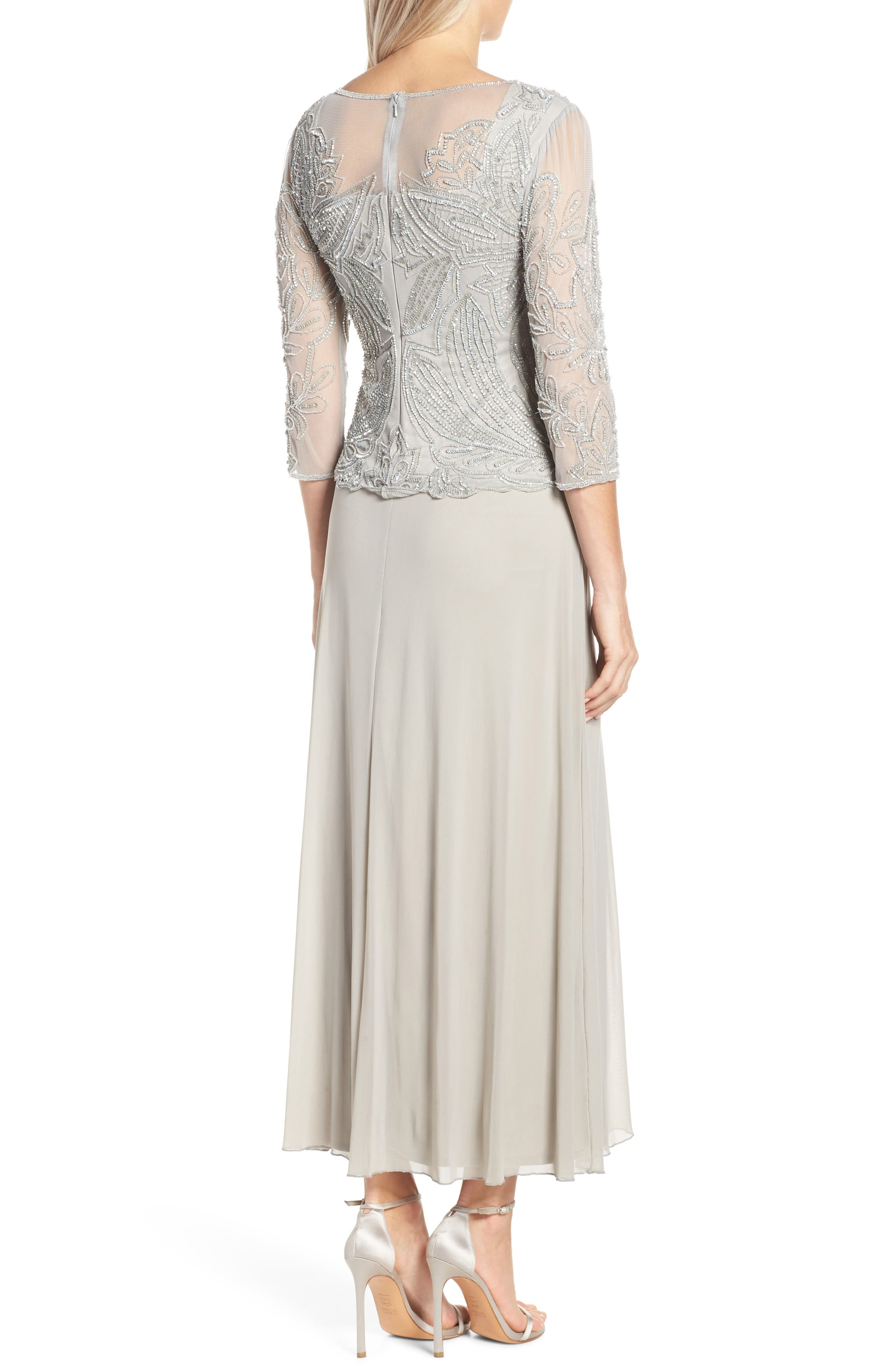 Embellished Mesh Gown,                             Alternate thumbnail 2, color,                             SILVER GREY