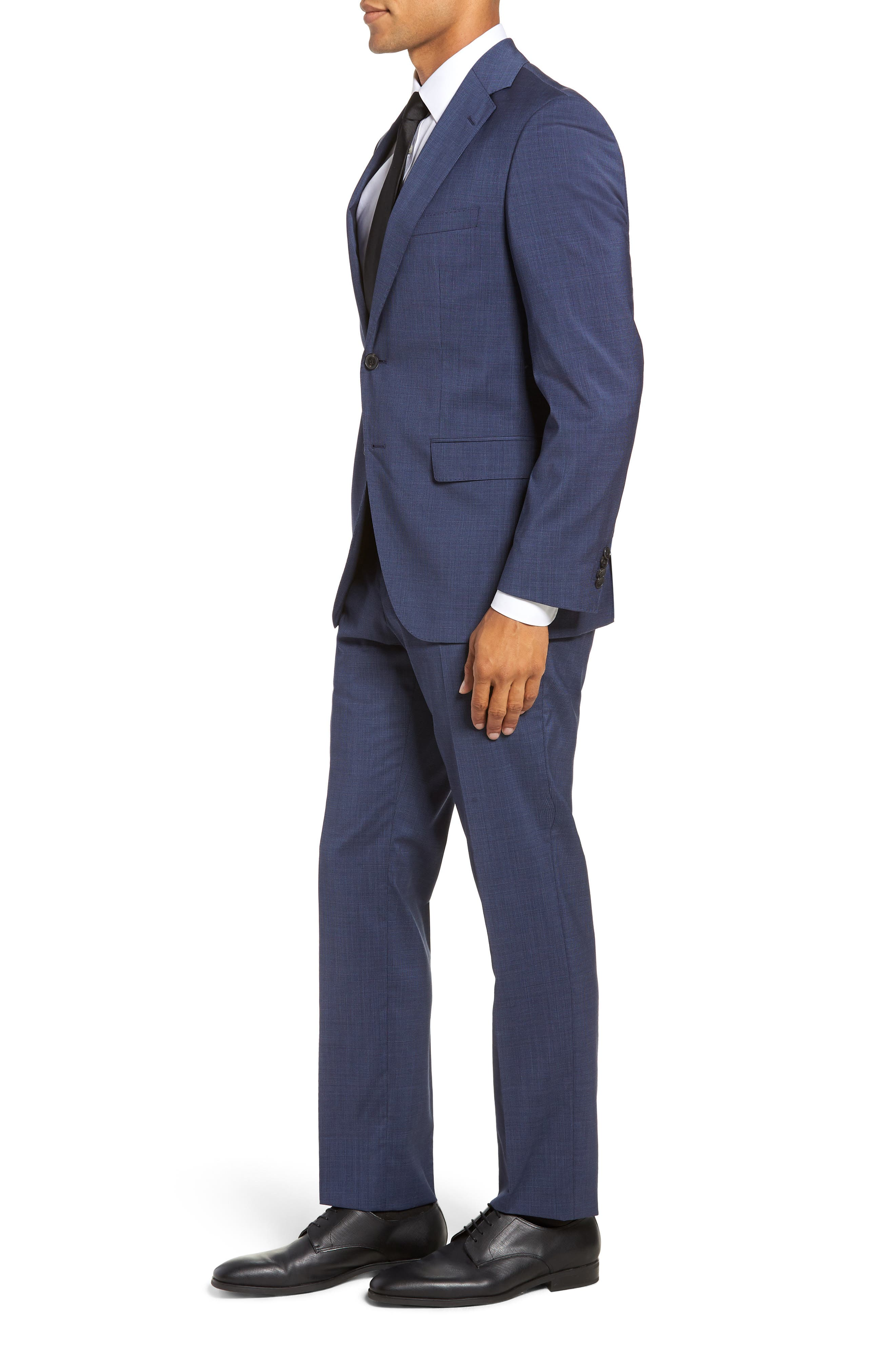 Johnstons/Lenon Classic Fit Houndstooth Wool Suit,                             Alternate thumbnail 3, color,                             BLUE