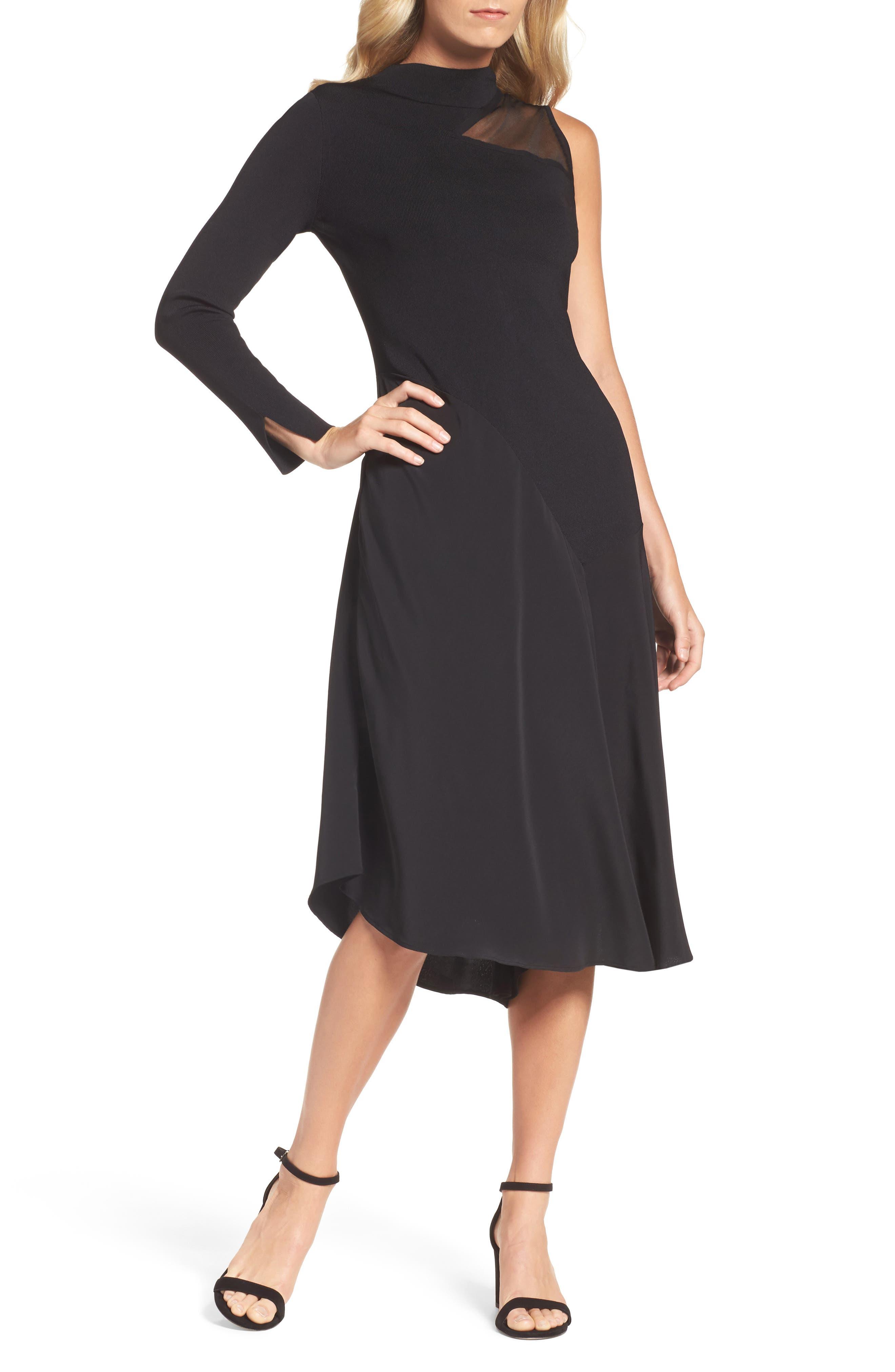 One-Shoulder Midi Dress,                             Main thumbnail 1, color,                             004
