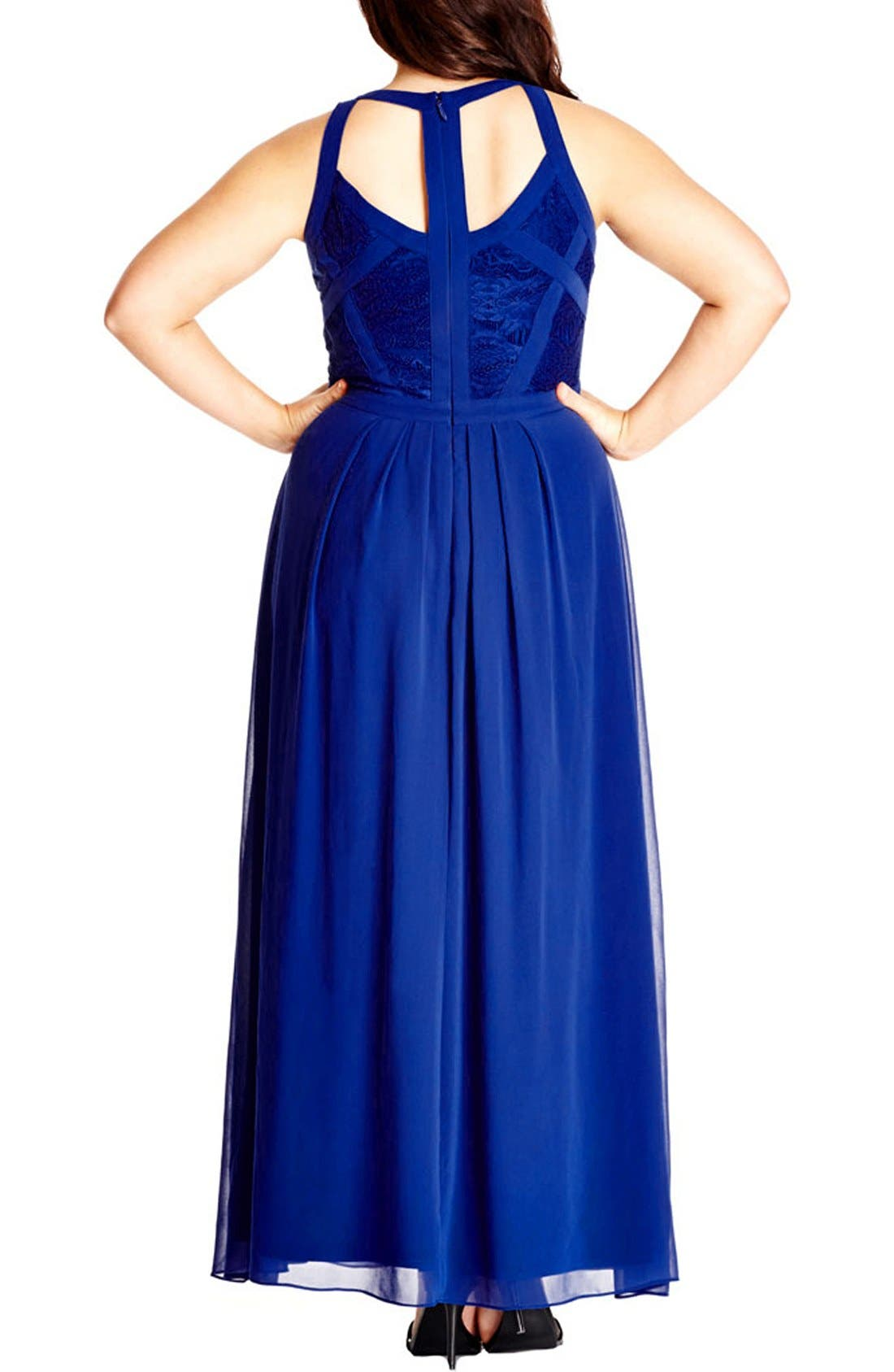 Paneled Lace Bodice Gown,                             Alternate thumbnail 15, color,