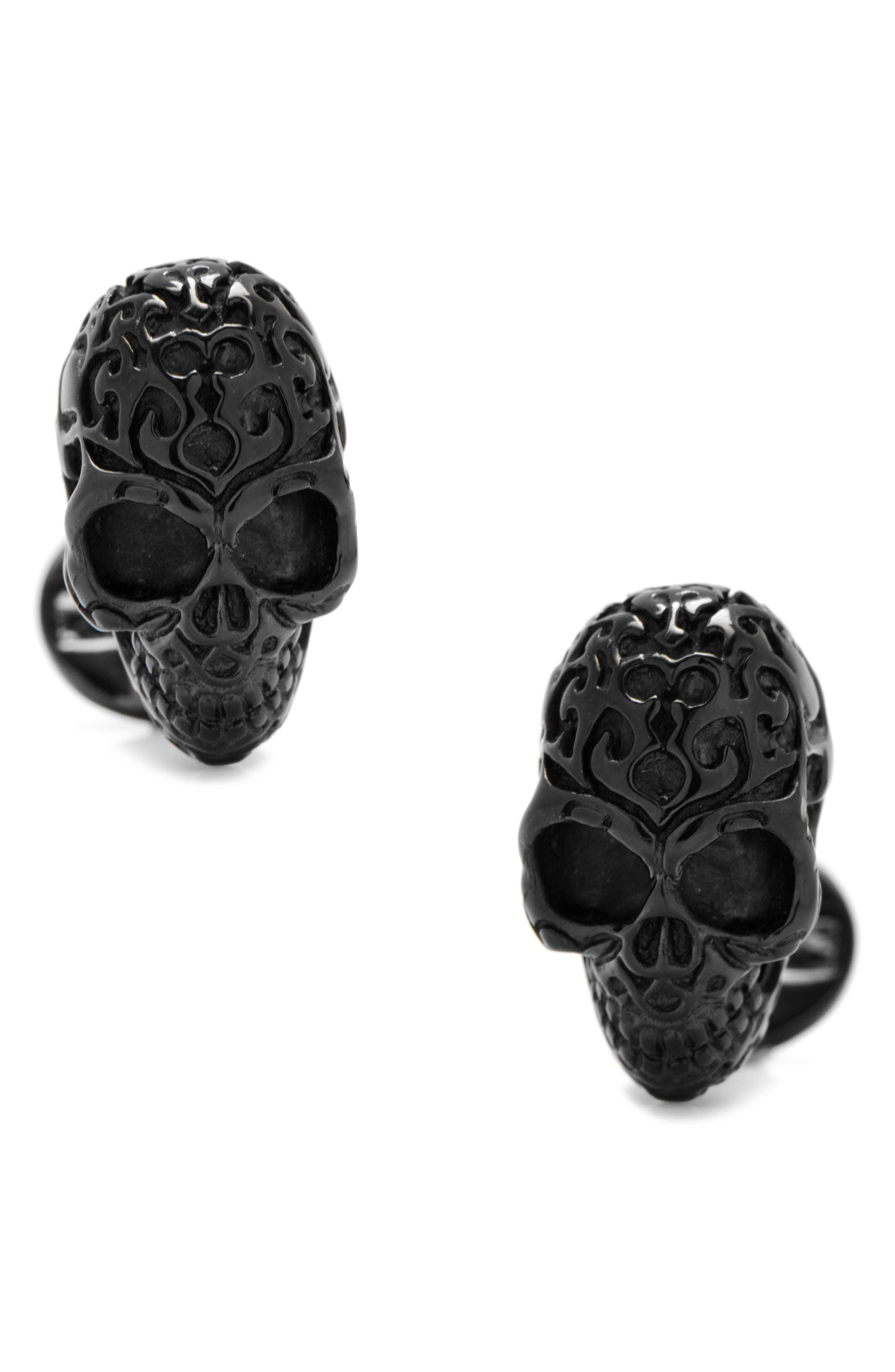 Black Fatale Skull Cuff Links,                         Main,                         color, BLACK