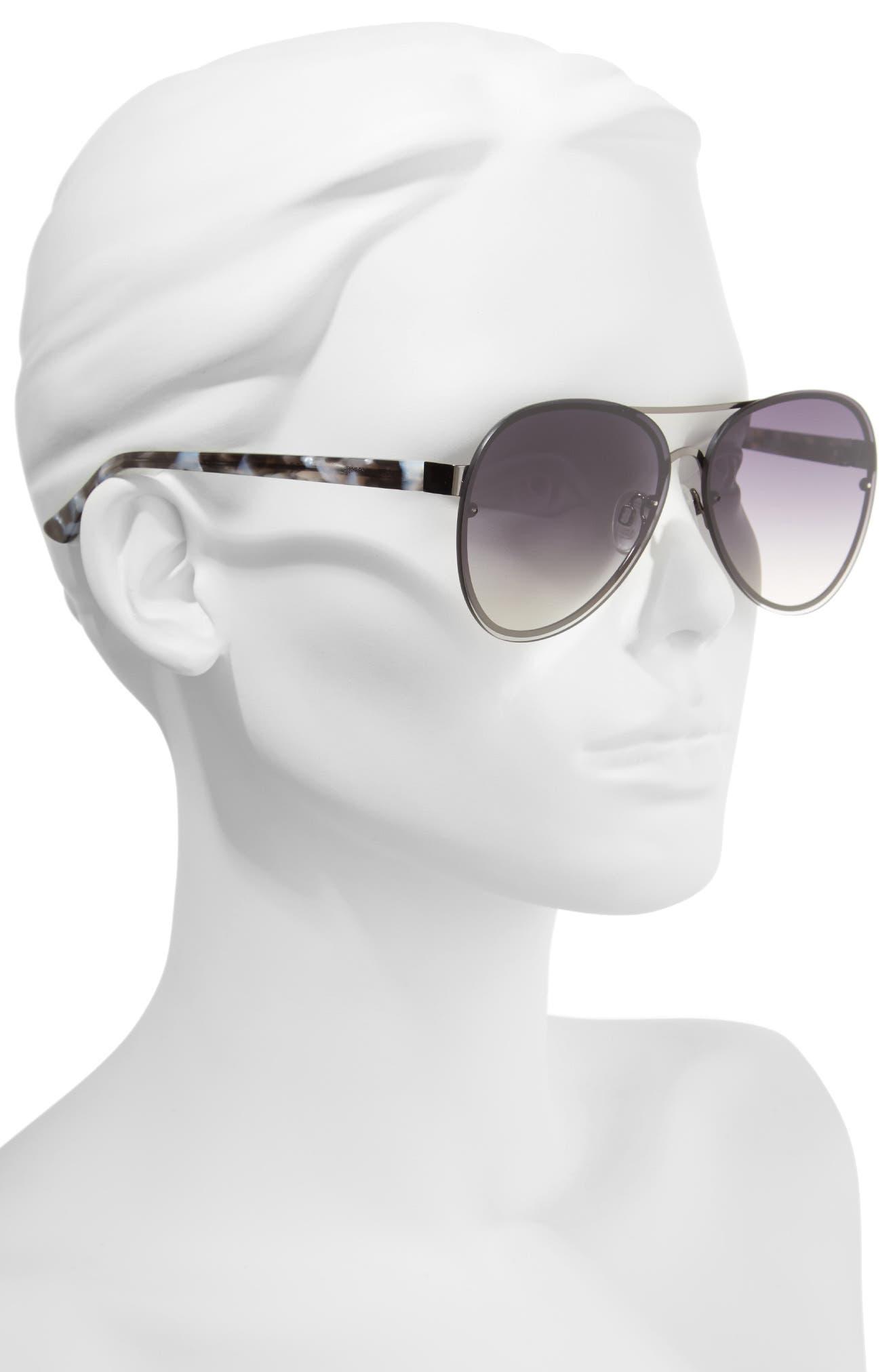 Straight Flush 64mm Aviator Sunglasses,                             Alternate thumbnail 2, color,                             SOLID SMOKE