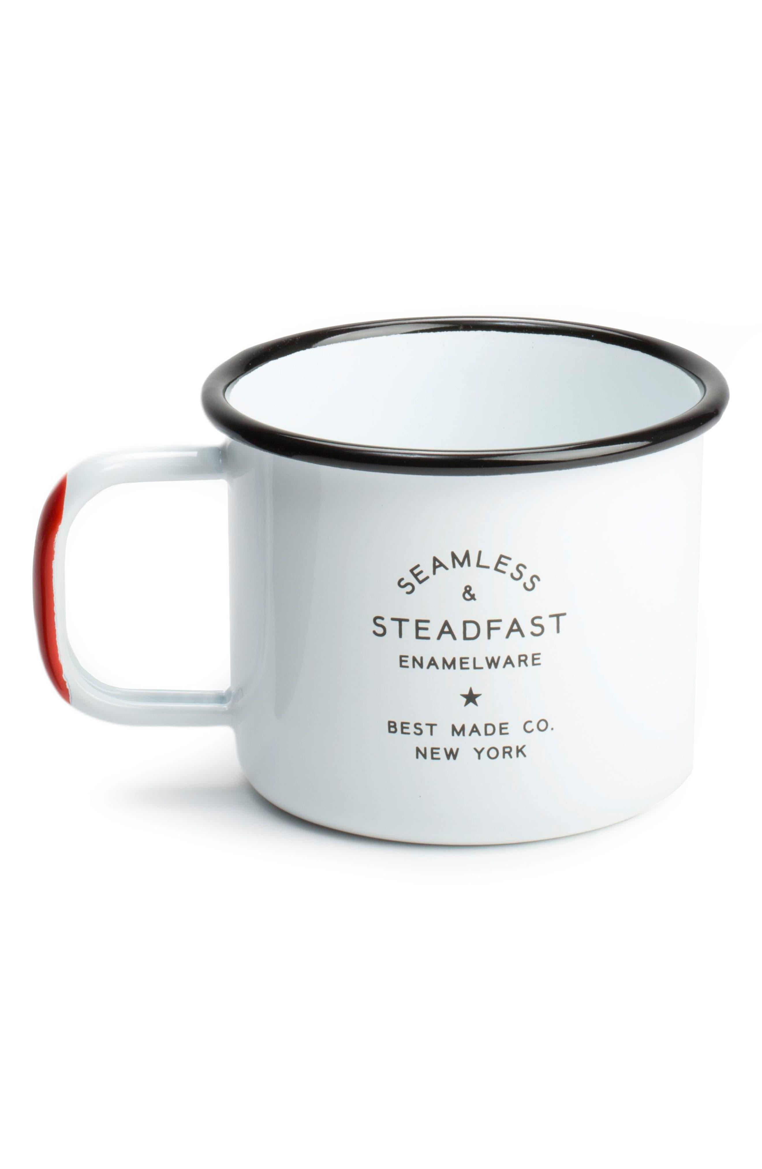 BEST MADE CO.,                             Set of 2 Enameled Steel Mugs,                             Alternate thumbnail 3, color,                             WHITE